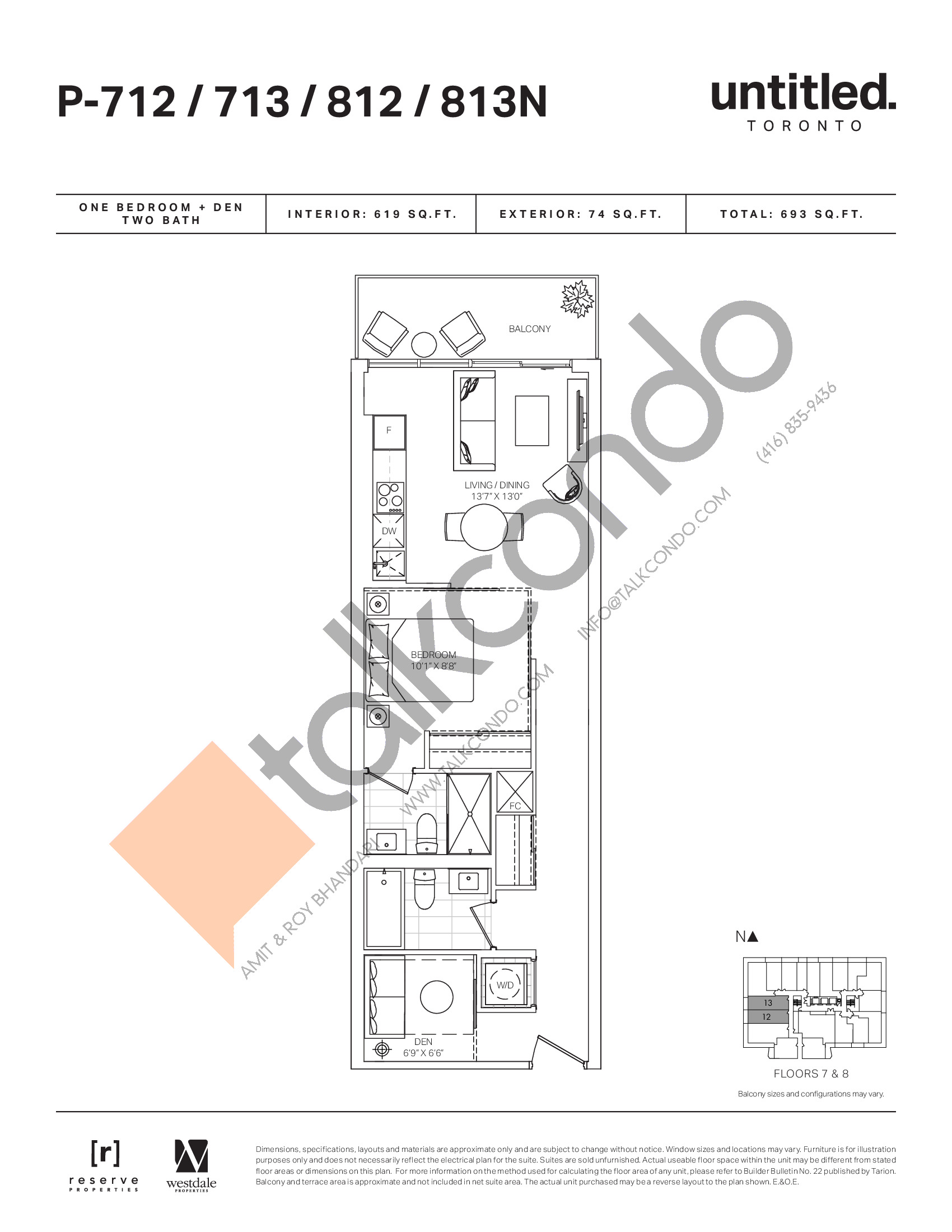 P-712/713/812/813N Floor Plan at Untitled North Tower Condos - 619 sq.ft