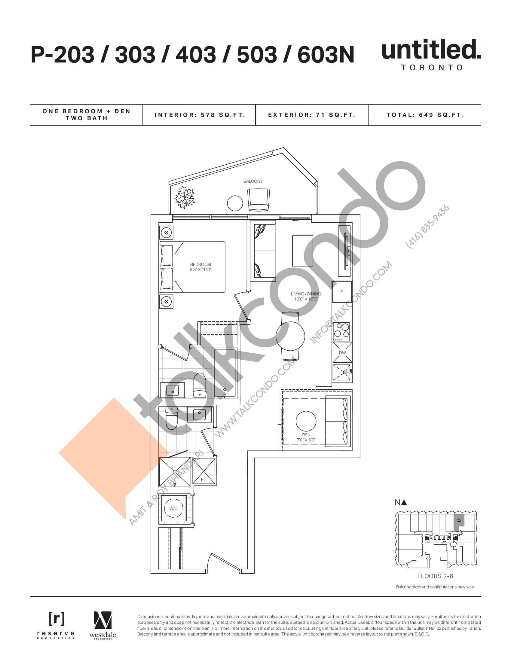 P-203/303/403/503/603N Floor Plan at Untitled North Tower Condos - 578 sq.ft