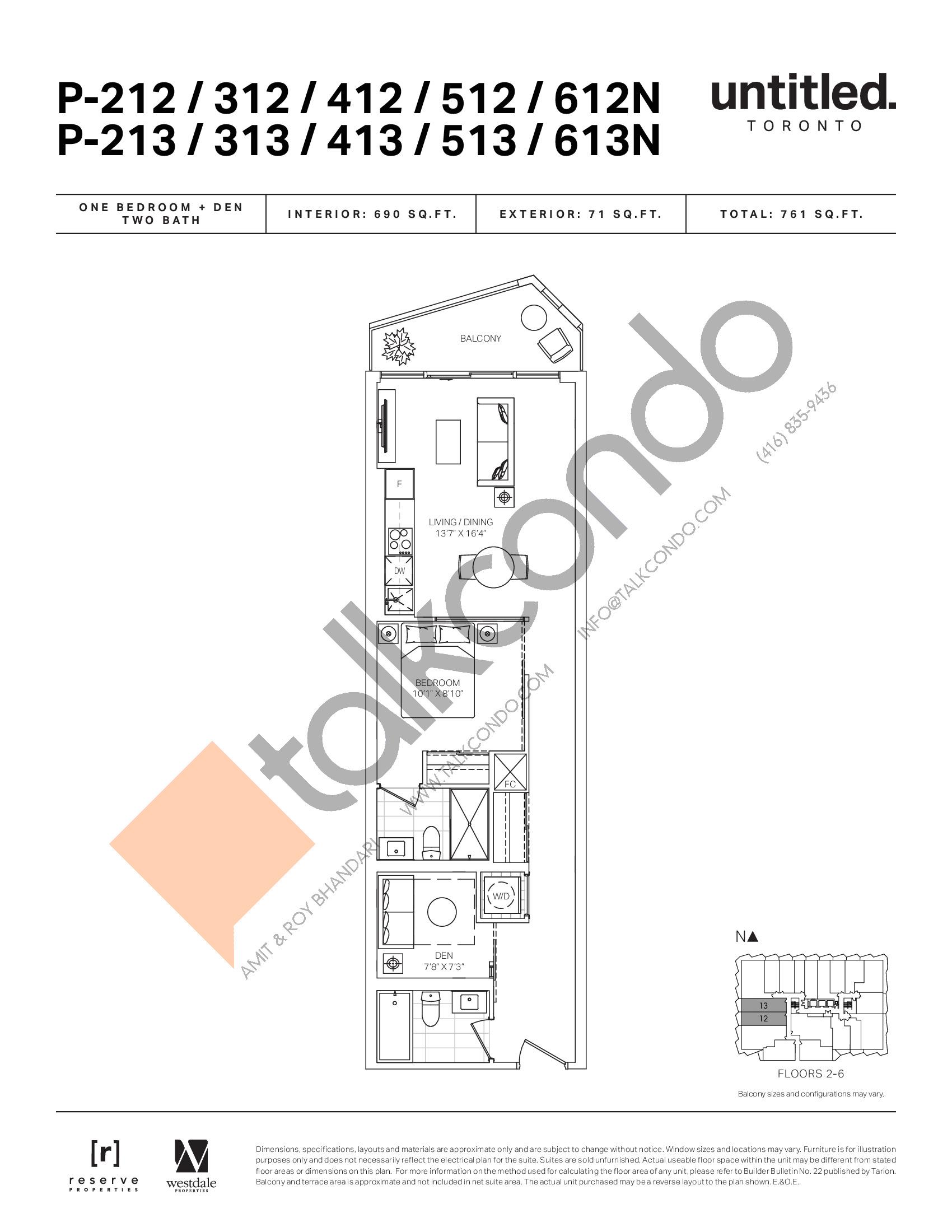 P-212/312/412/512/612N P-213/313/413/513/613N Floor Plan at Untitled North Tower Condos - 690 sq.ft