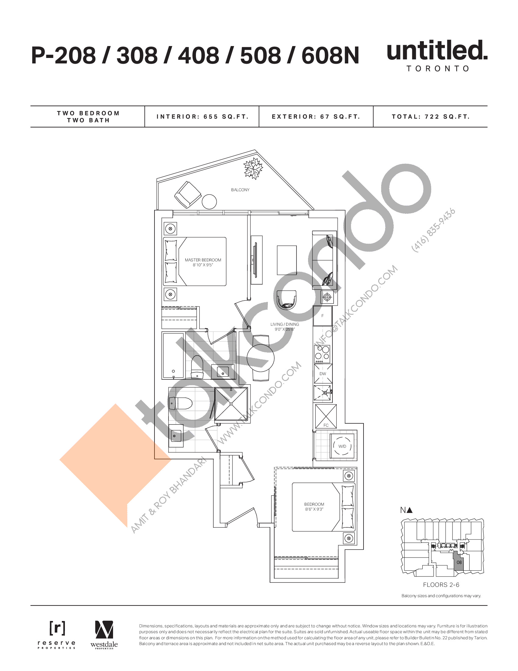 P-208/308/408/508/608N Floor Plan at Untitled North Tower Condos - 655 sq.ft