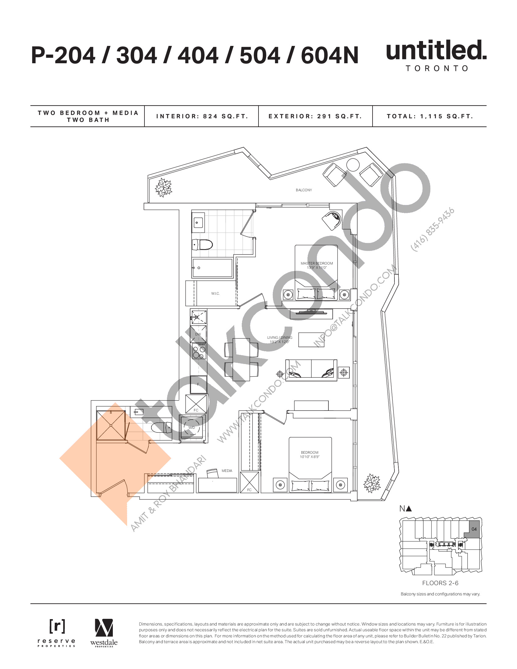 P-204/304/404/504/604N Floor Plan at Untitled North Tower Condos - 824 sq.ft