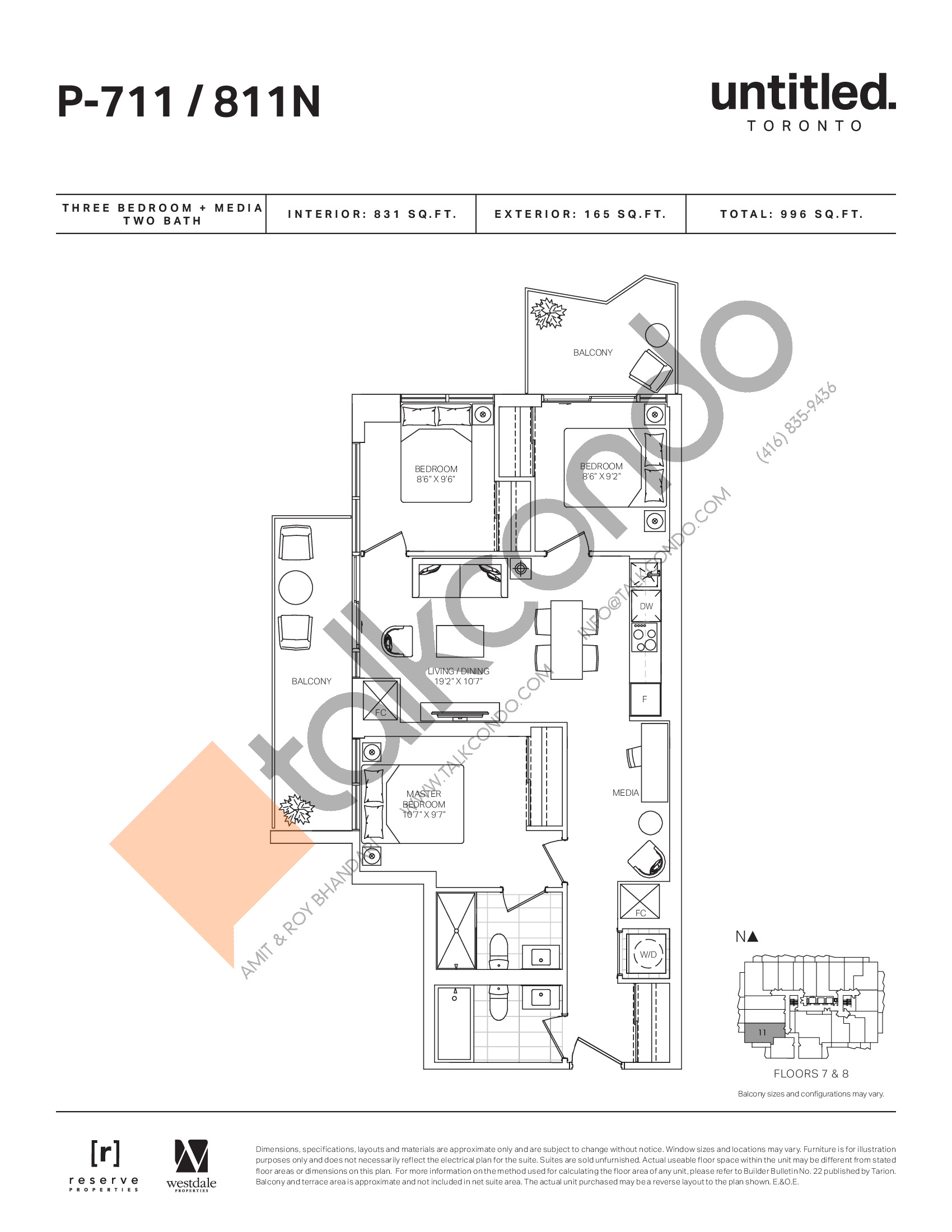 P-711/811N Floor Plan at Untitled North Tower Condos - 831 sq.ft