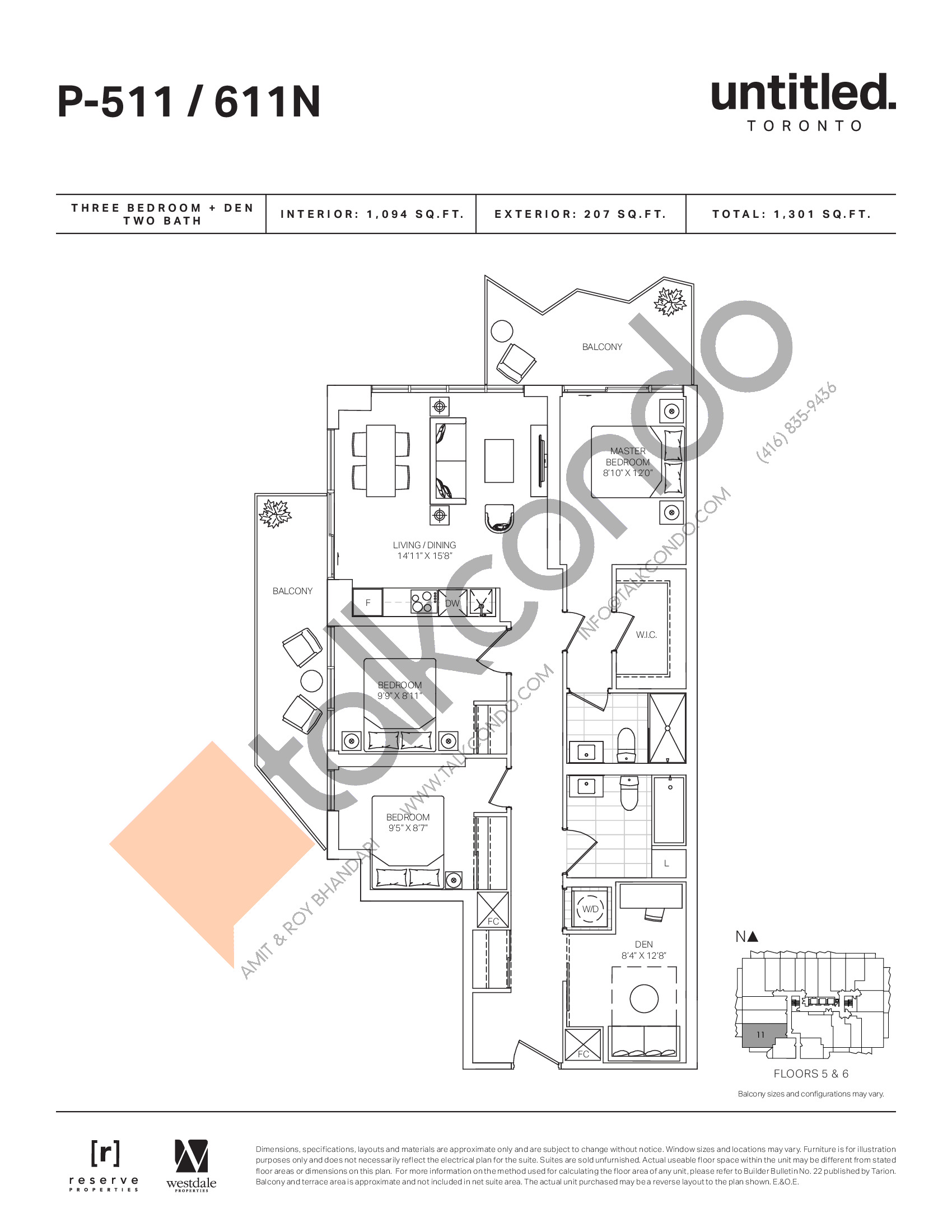 P-511/611N Floor Plan at Untitled North Tower Condos - 1094 sq.ft