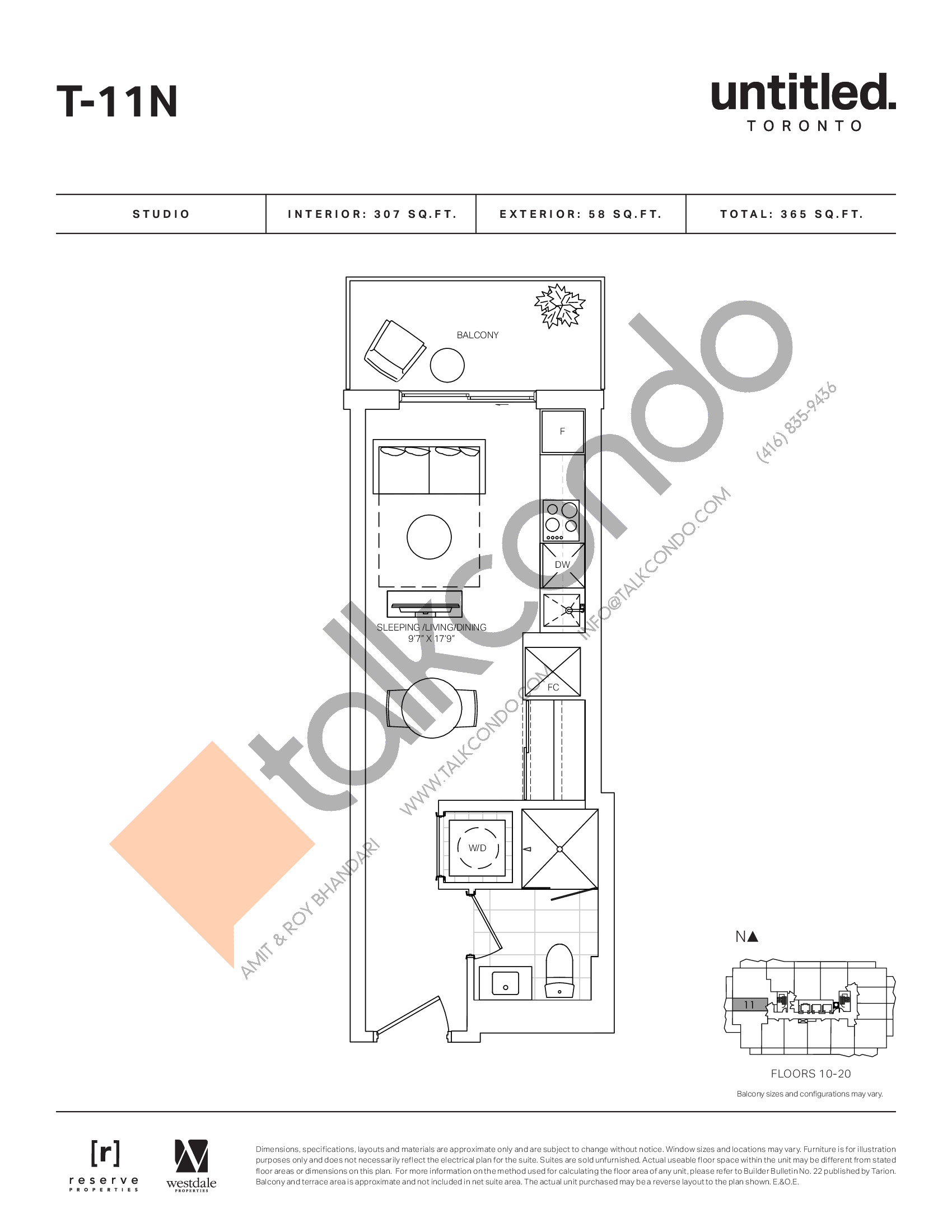 T-11N Floor Plan at Untitled North Tower Condos - 307 sq.ft