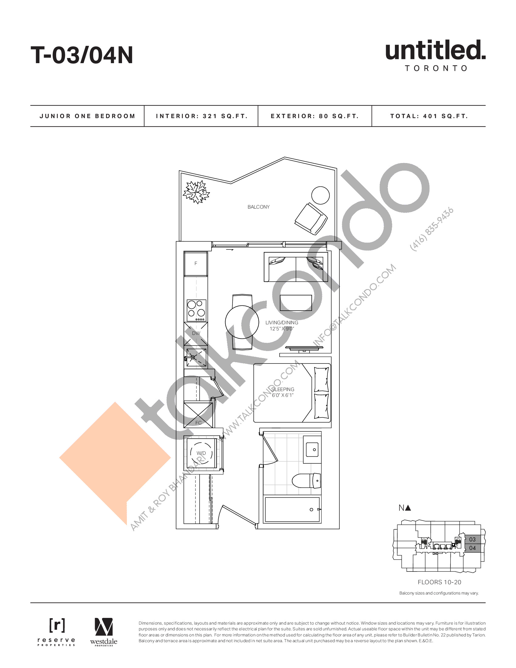 T-03/04N Floor Plan at Untitled North Tower Condos - 321 sq.ft