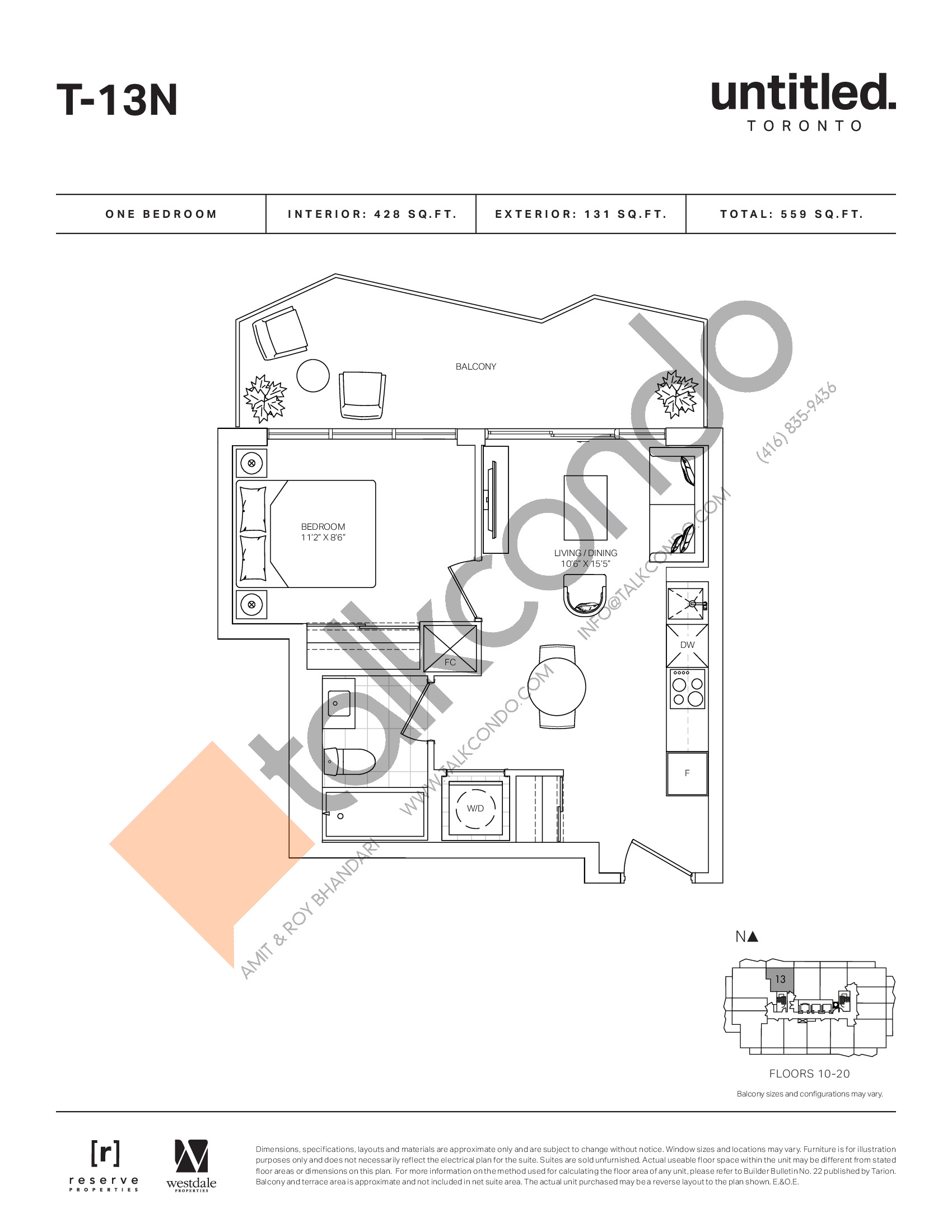 T-13N Floor Plan at Untitled North Tower Condos - 428 sq.ft