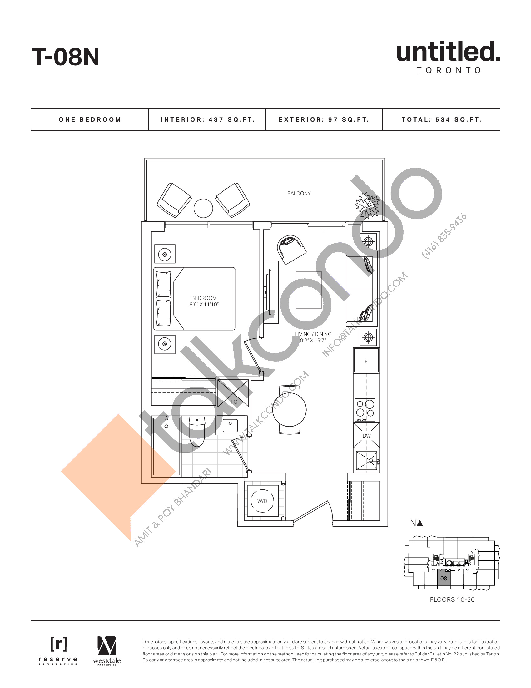 T-08N Floor Plan at Untitled North Tower Condos - 437 sq.ft