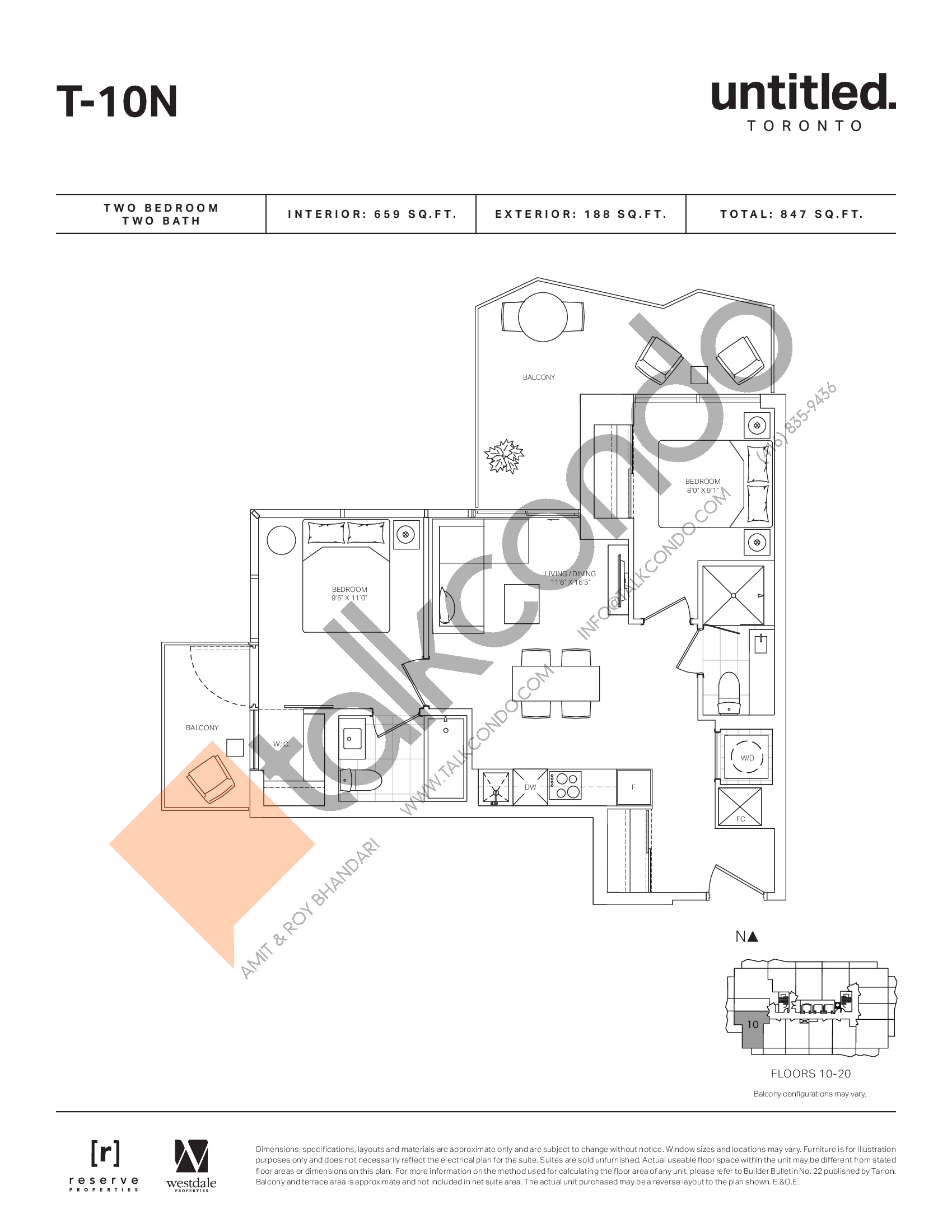 T-10N Floor Plan at Untitled North Tower Condos - 659 sq.ft