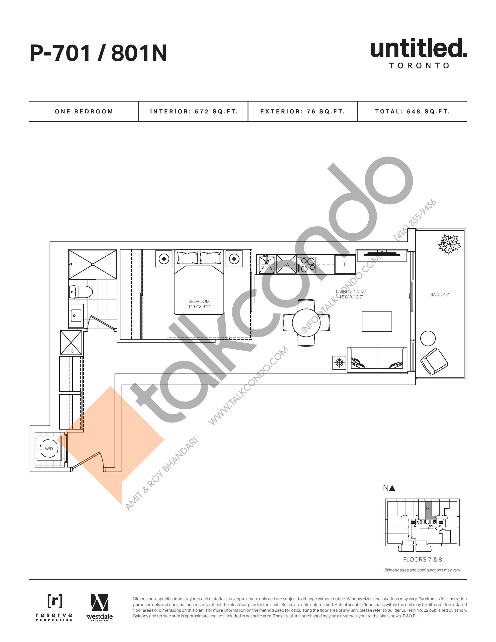 P-701 / 801N Floor Plan at Untitled North Tower Condos - 572 sq.ft