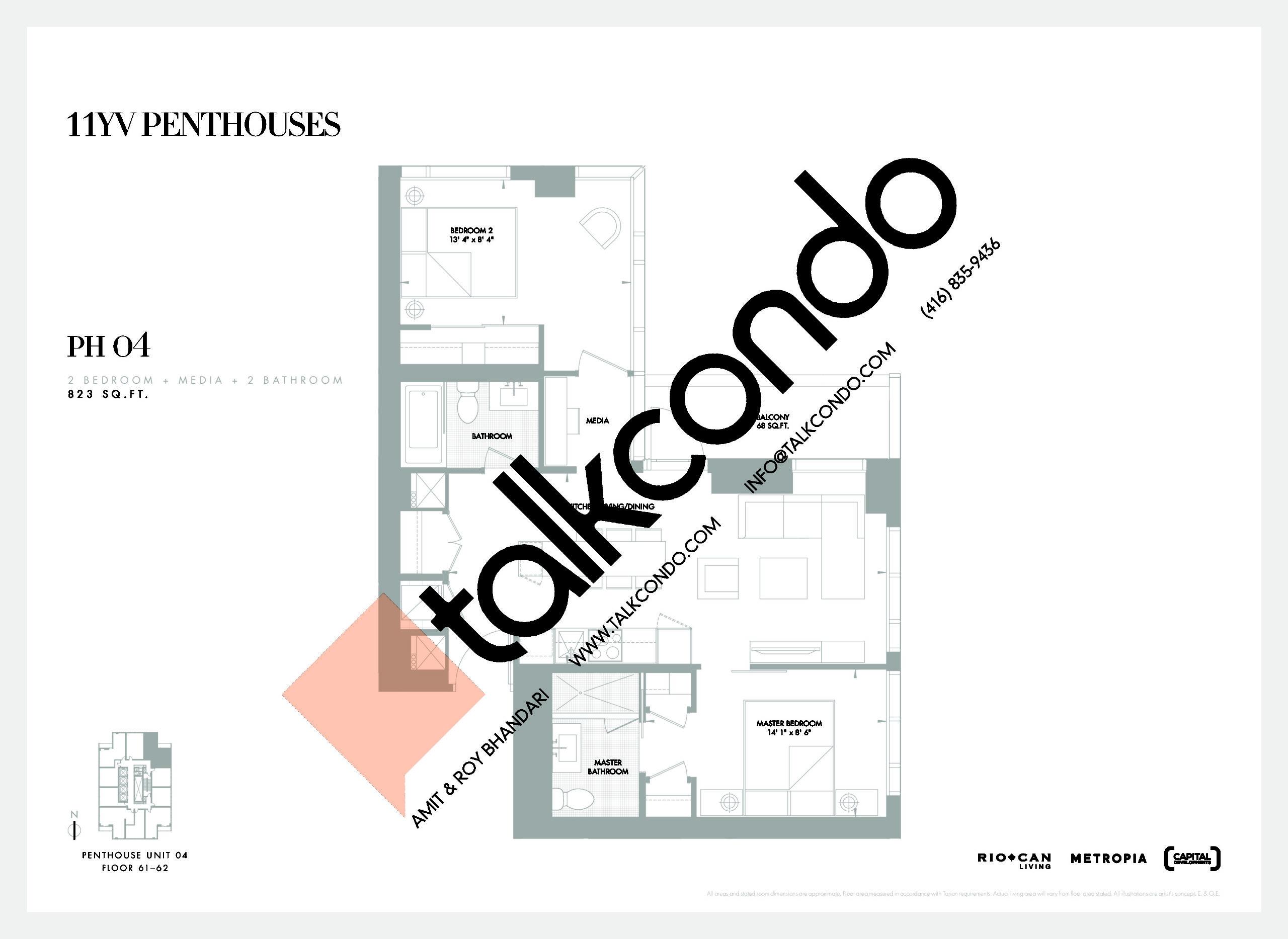 PH 04 Floor Plan at 11YV Condos - 823 sq.ft