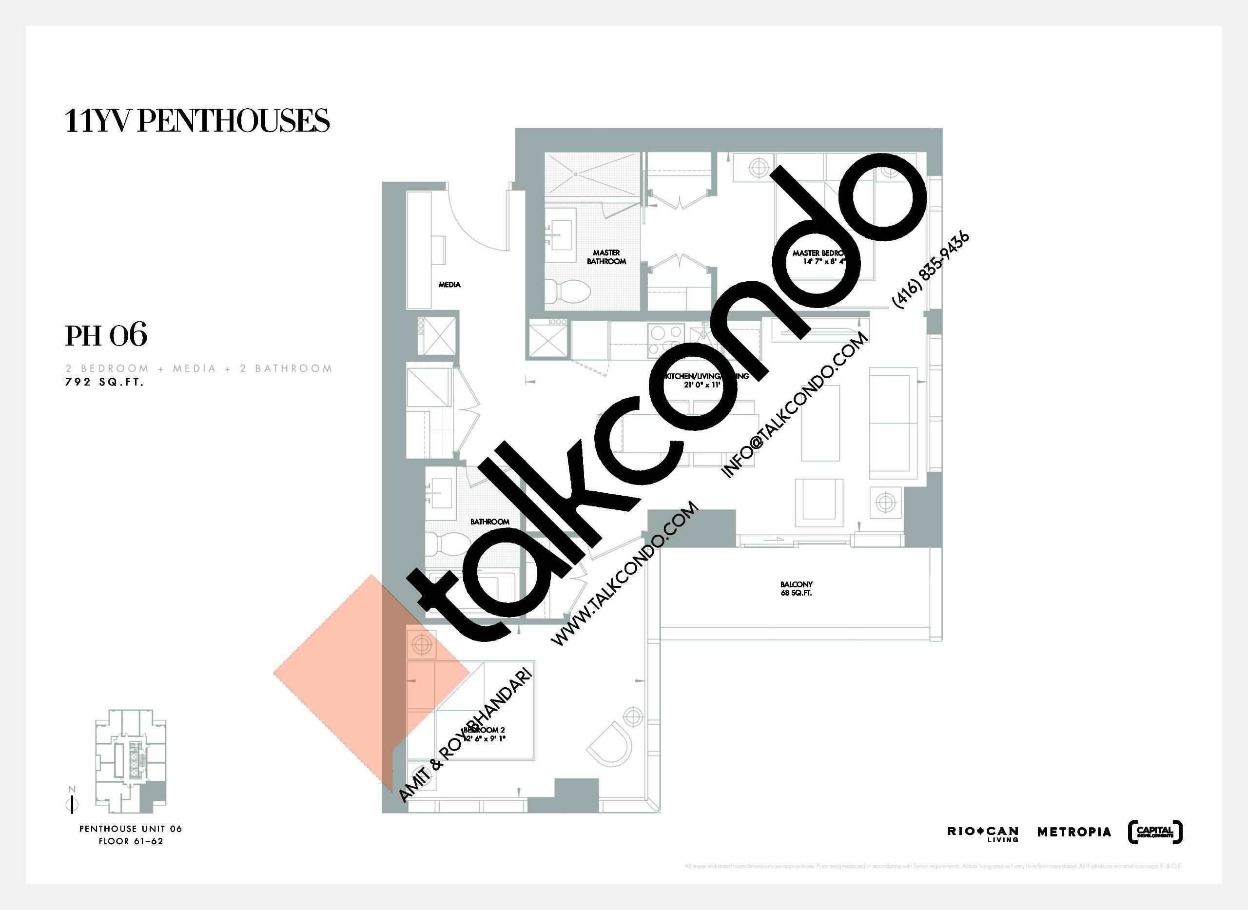 PH 06 Floor Plan at 11YV Condos - 792 sq.ft
