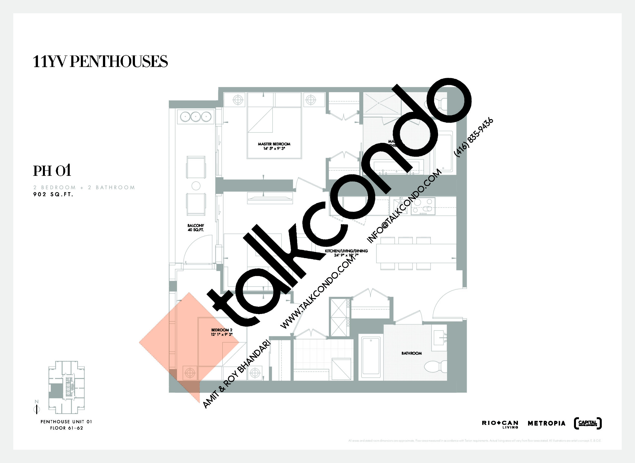 PH 01 Floor Plan at 11YV Condos - 902 sq.ft