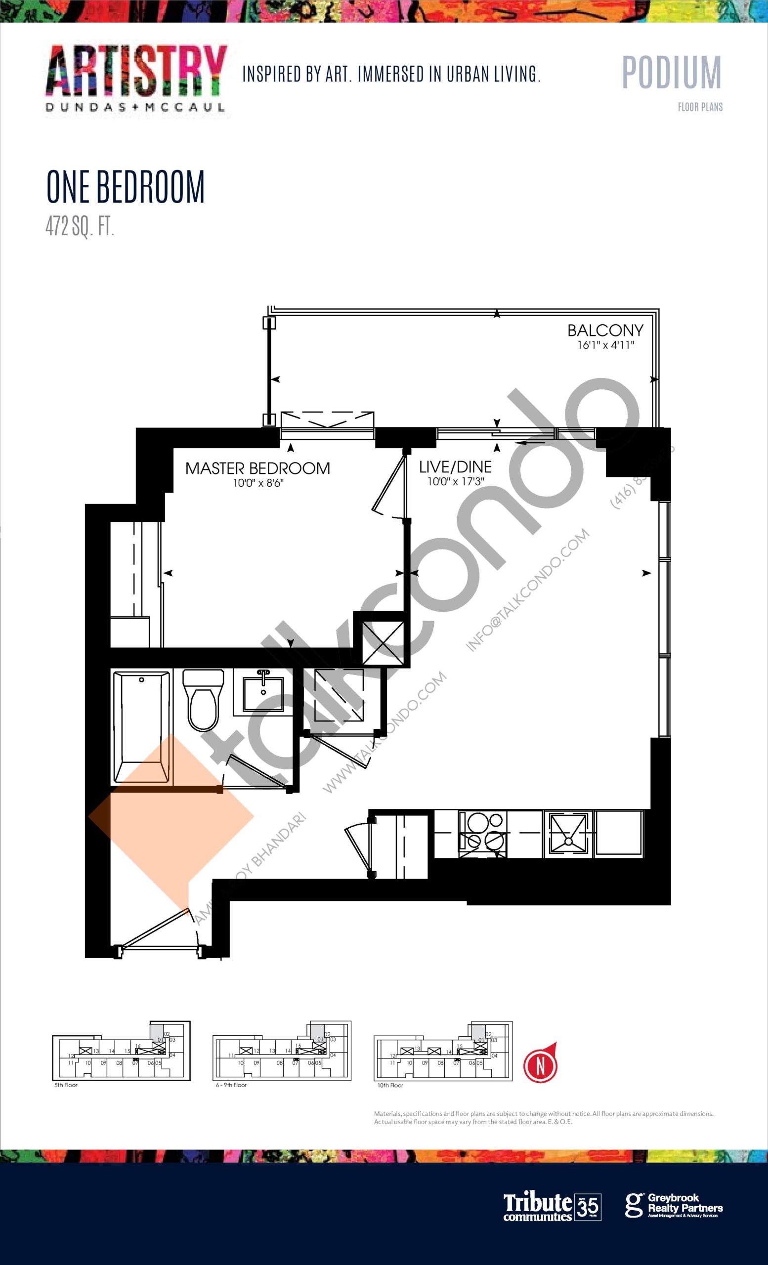 472 sq. ft. - Podium Floor Plan at Artistry Condos - 472 sq.ft