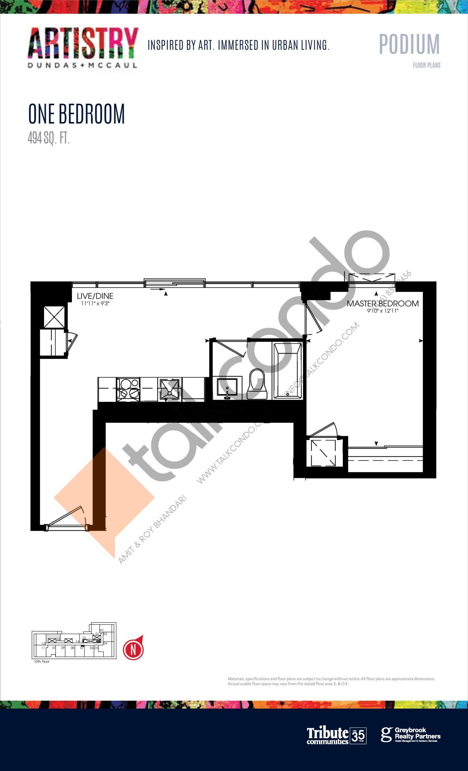 494 sq. ft. - Podium Floor Plan at Artistry Condos - 494 sq.ft