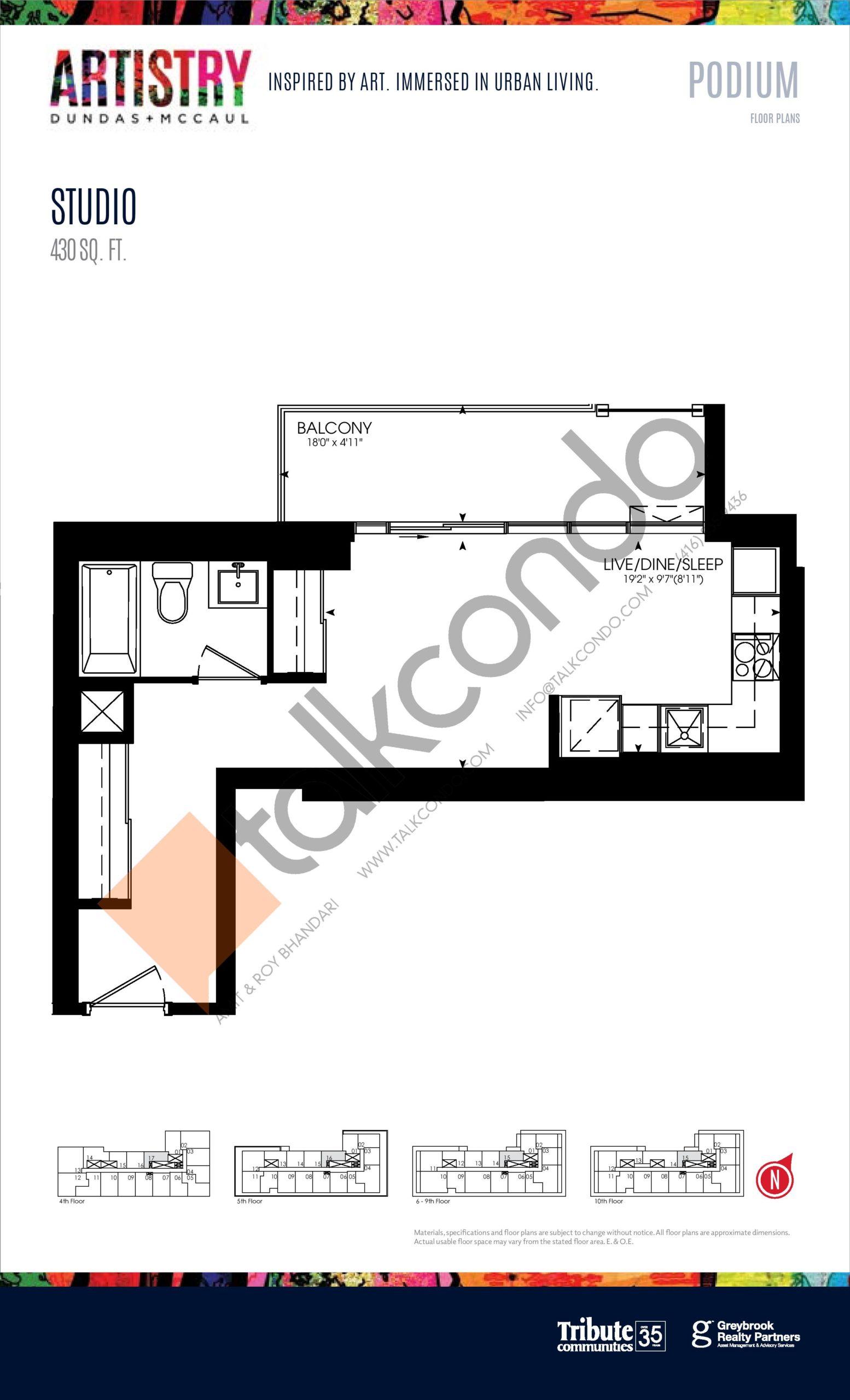 430 sq. ft. - Podium Floor Plan at Artistry Condos - 430 sq.ft