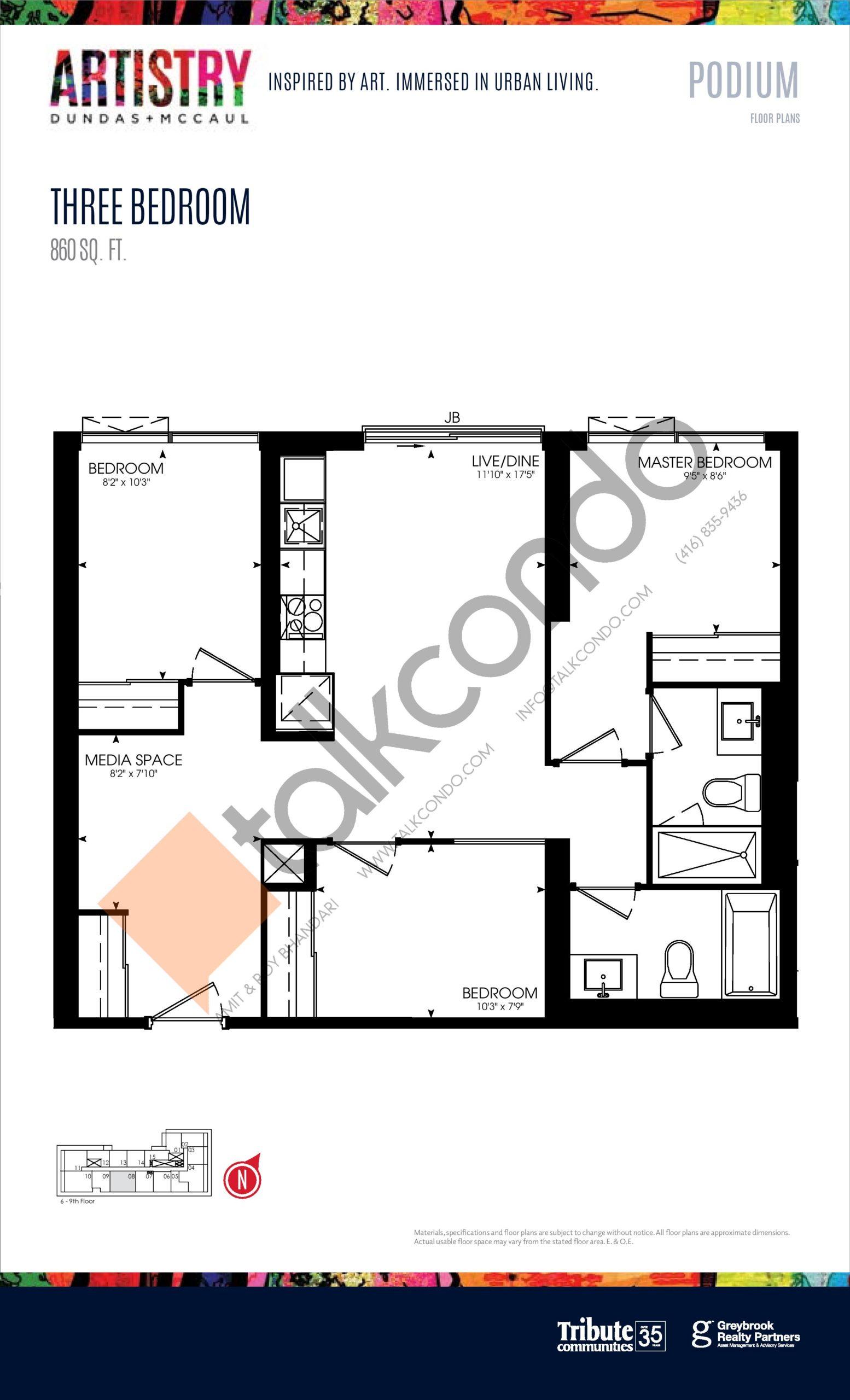 860 sq. ft. - Podium Floor Plan at Artistry Condos - 860 sq.ft