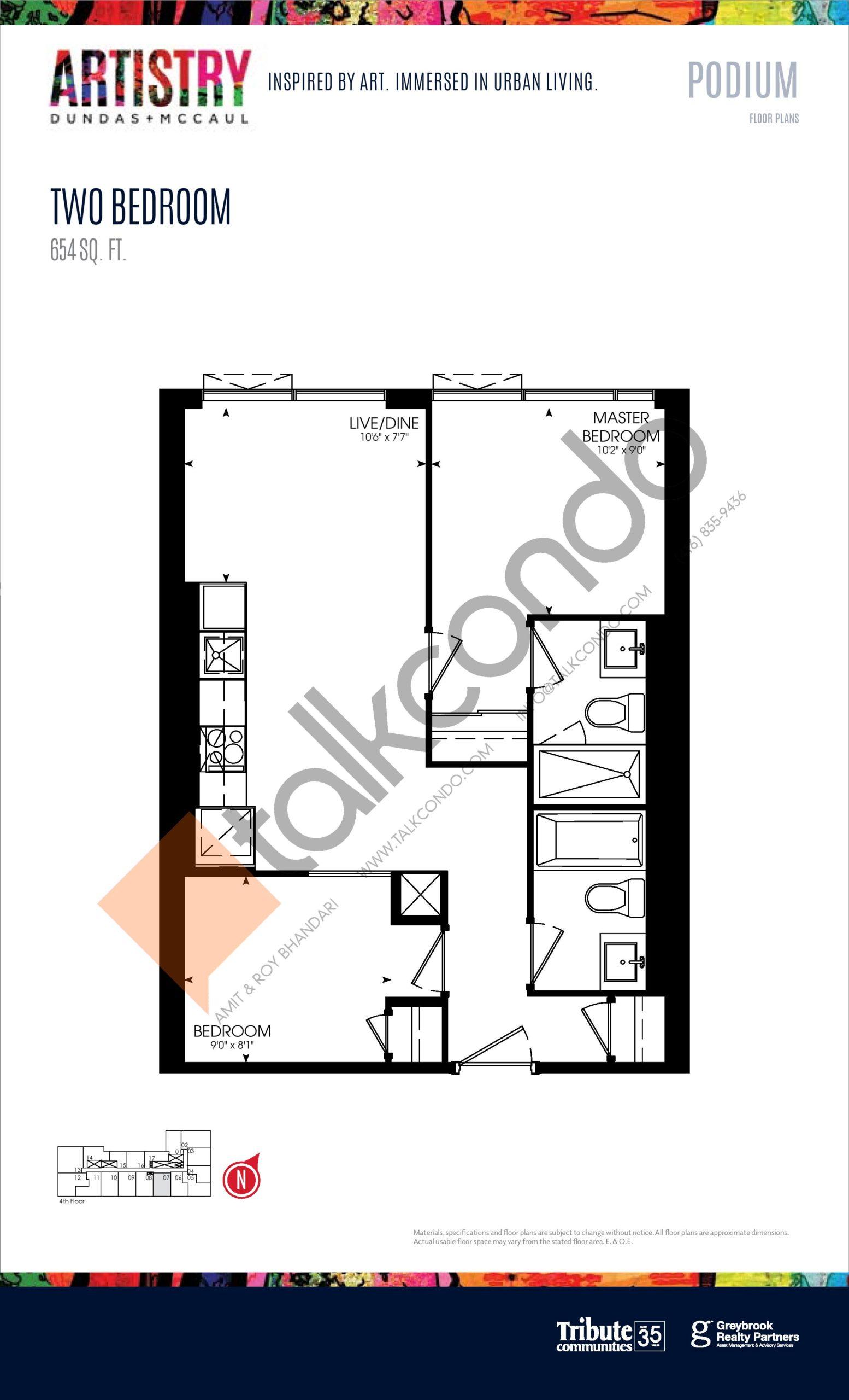 654 sq. ft. - Podium Floor Plan at Artistry Condos - 654 sq.ft