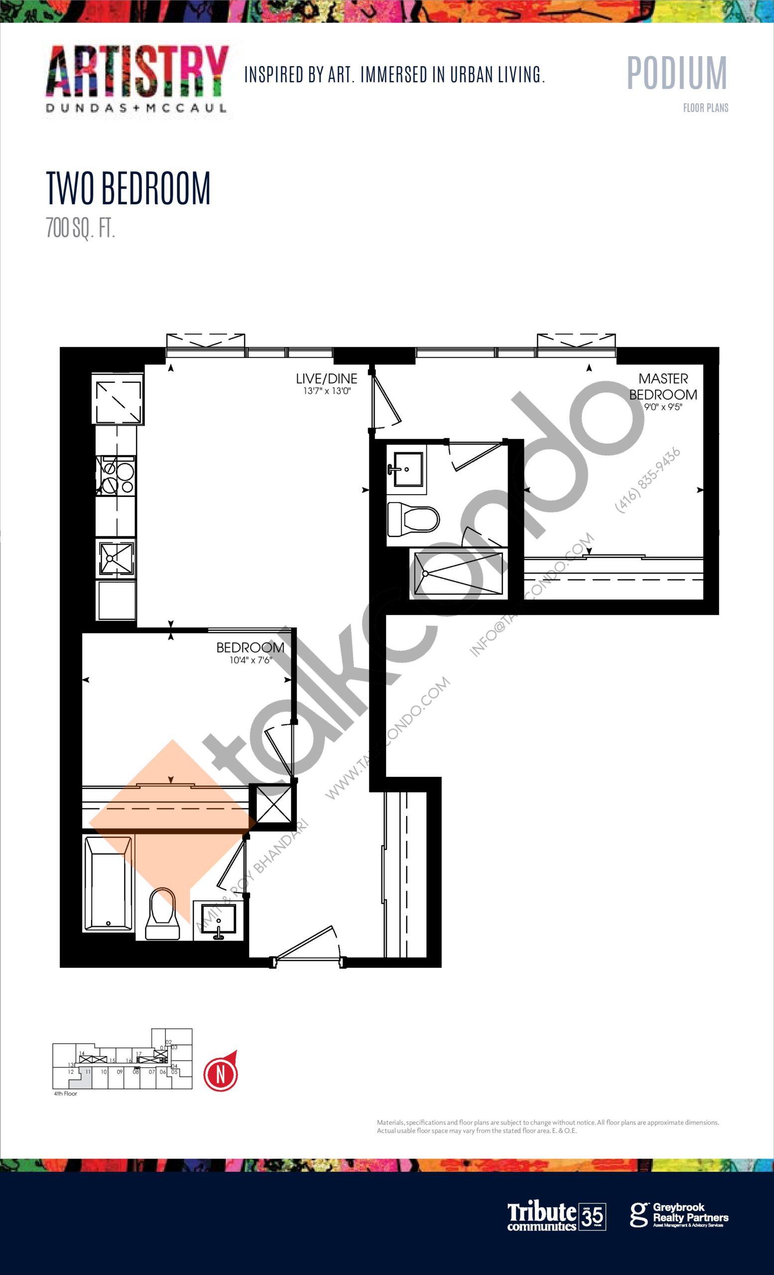 700 sq. ft. - Podium Floor Plan at Artistry Condos - 700 sq.ft