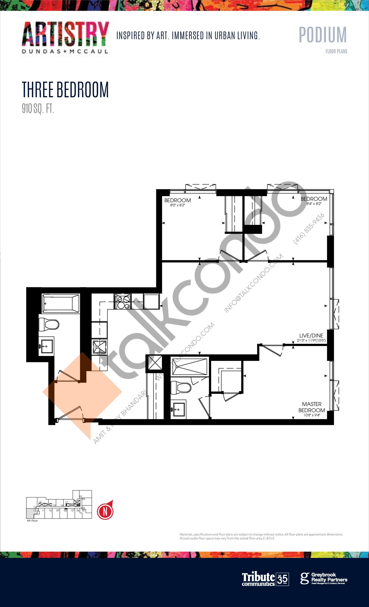 910 sq. ft. - Podium Floor Plan at Artistry Condos - 910 sq.ft