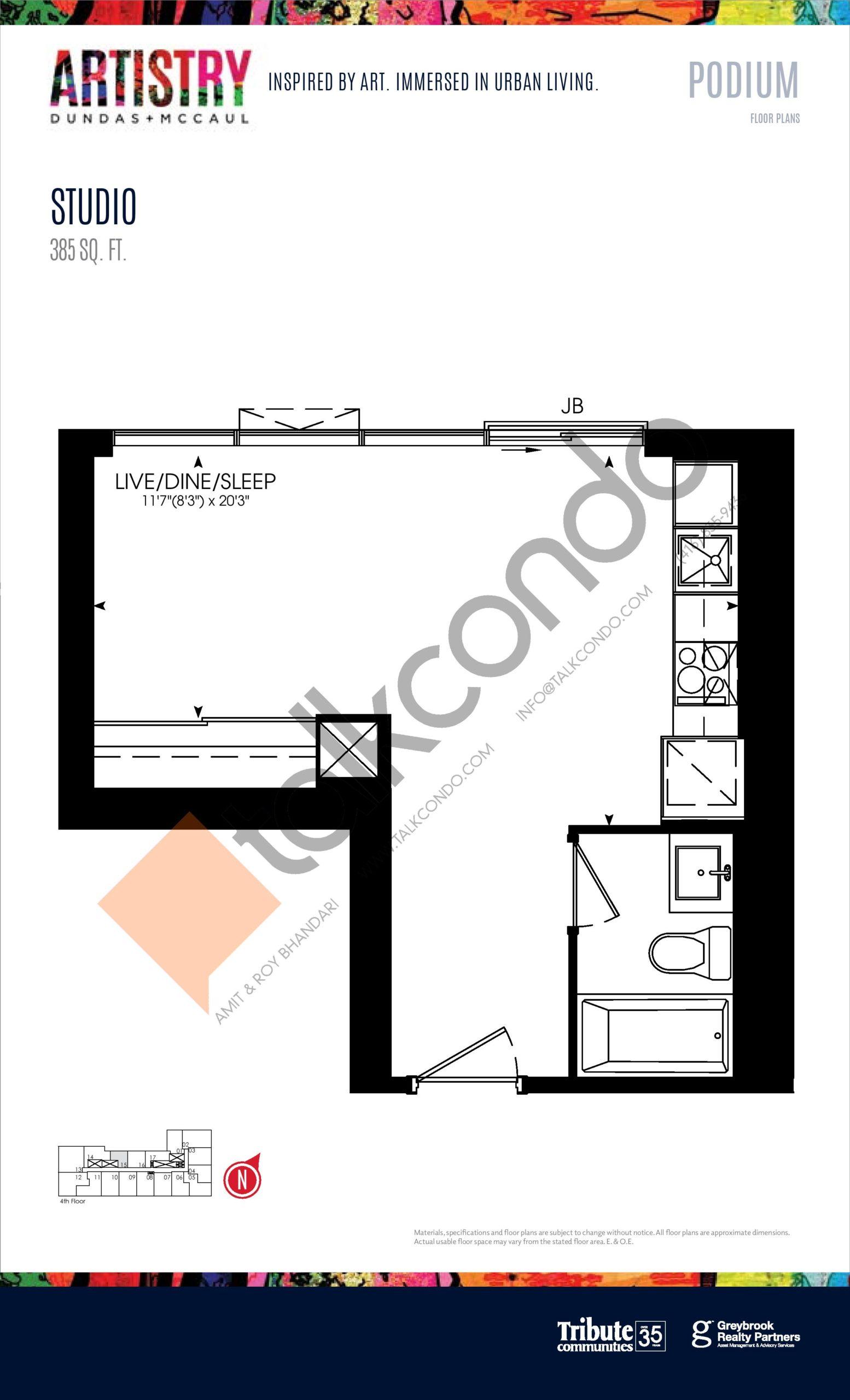 385 sq. ft. - Podium Floor Plan at Artistry Condos - 385 sq.ft