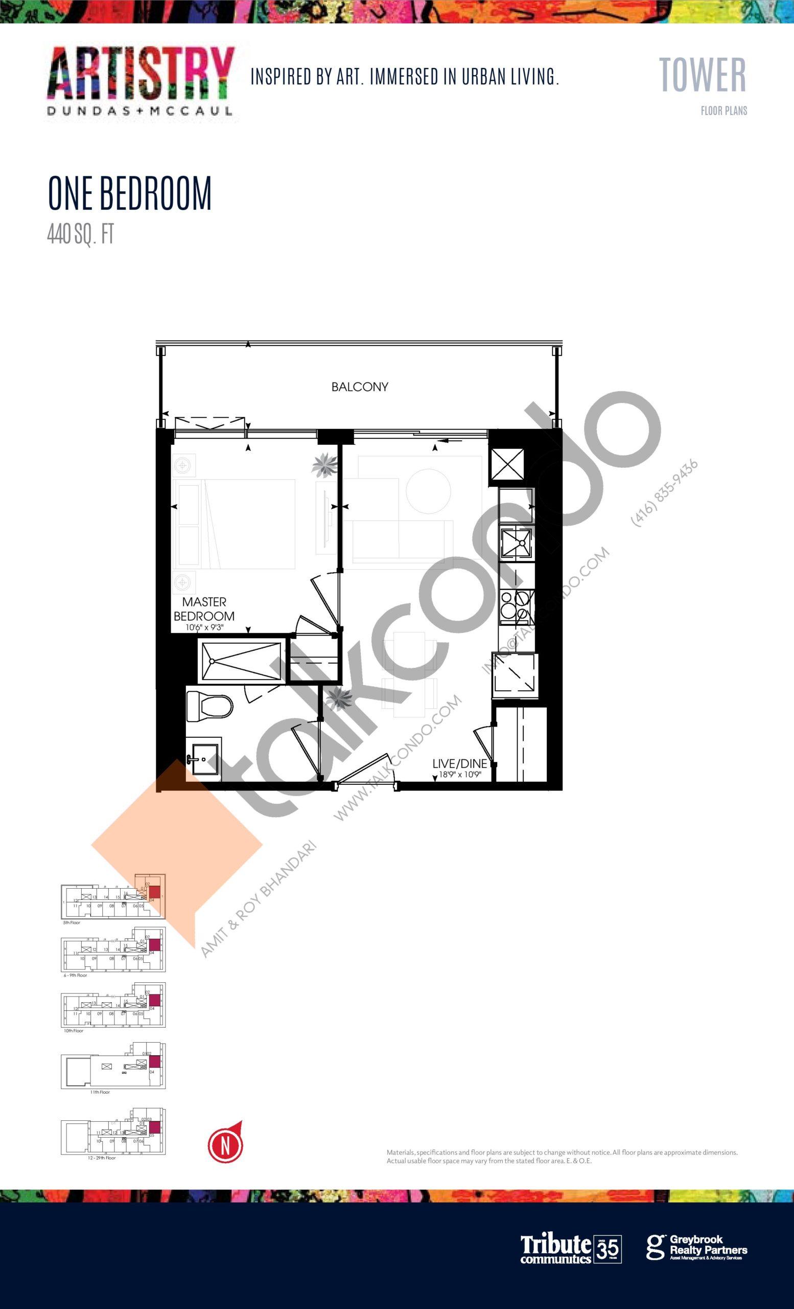 440 sq. ft. - Tower Floor Plan at Artistry Condos - 440 sq.ft