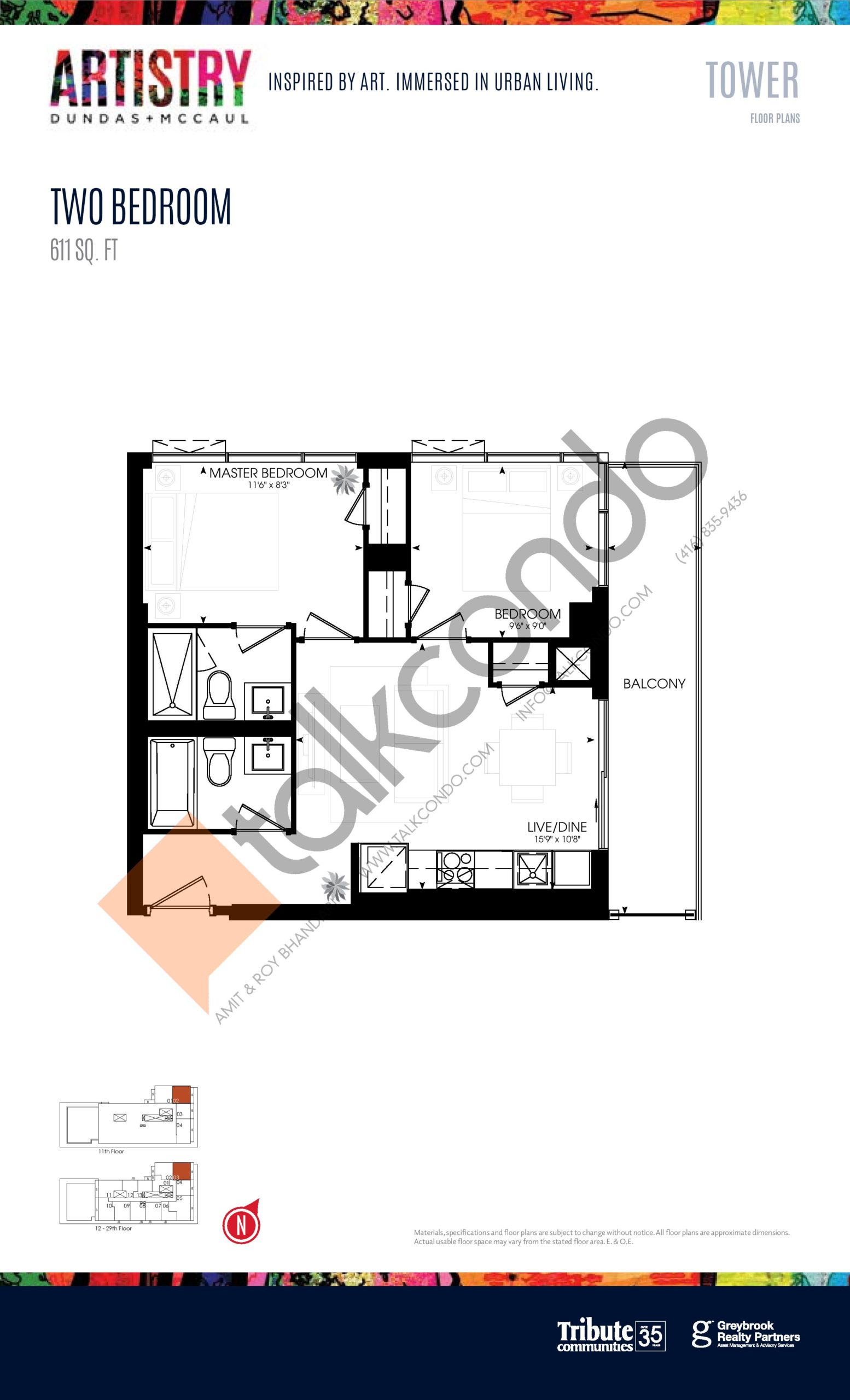 611 sq. ft. - Tower Floor Plan at Artistry Condos - 611 sq.ft