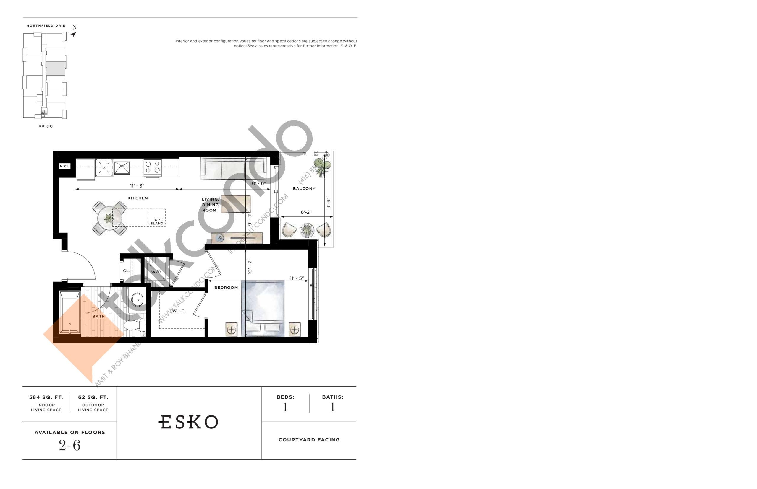 Esko Floor Plan at Ro at Blackstone Condos - 584 sq.ft