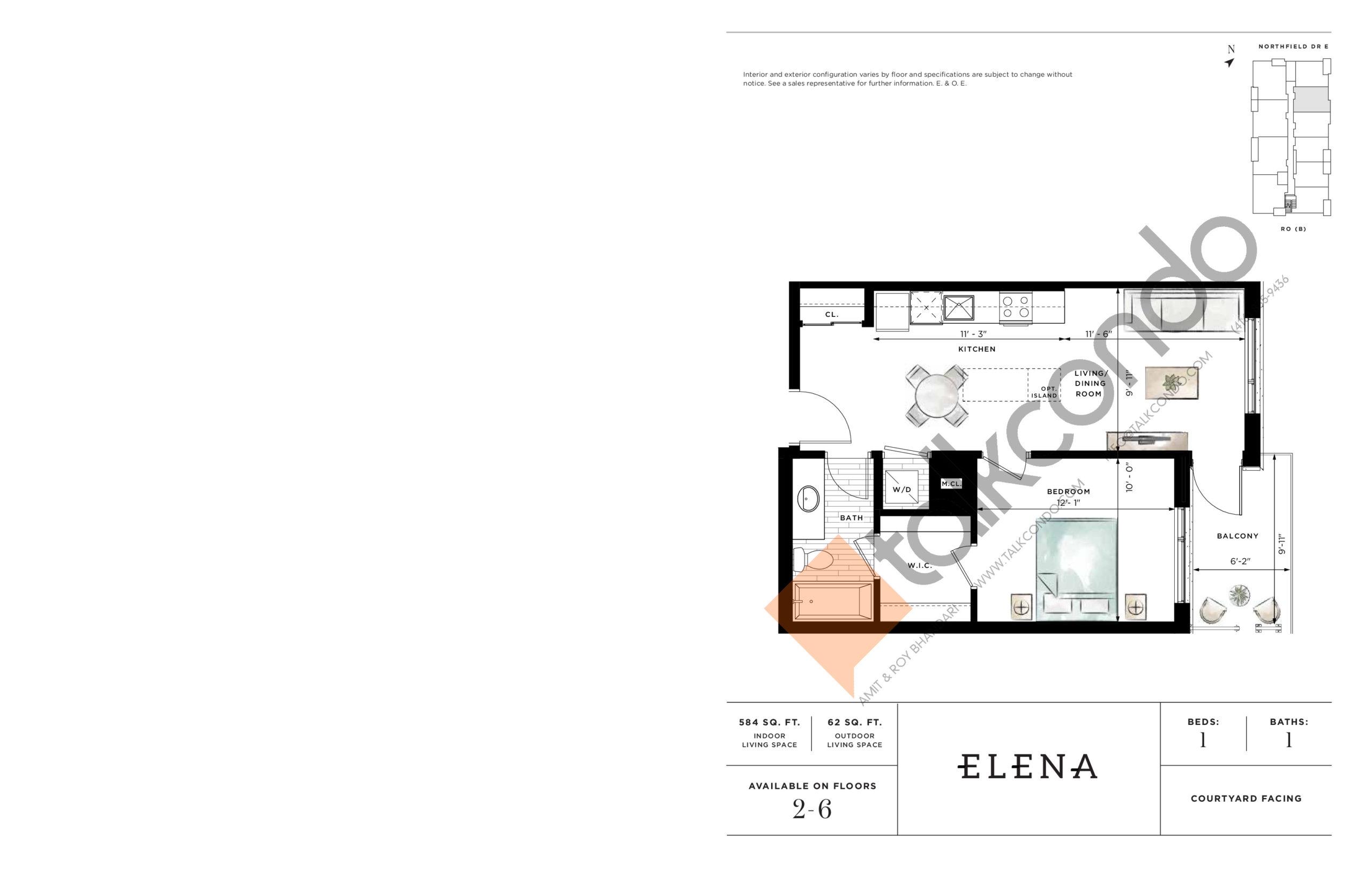 Elena Floor Plan at Ro at Blackstone Condos - 584 sq.ft