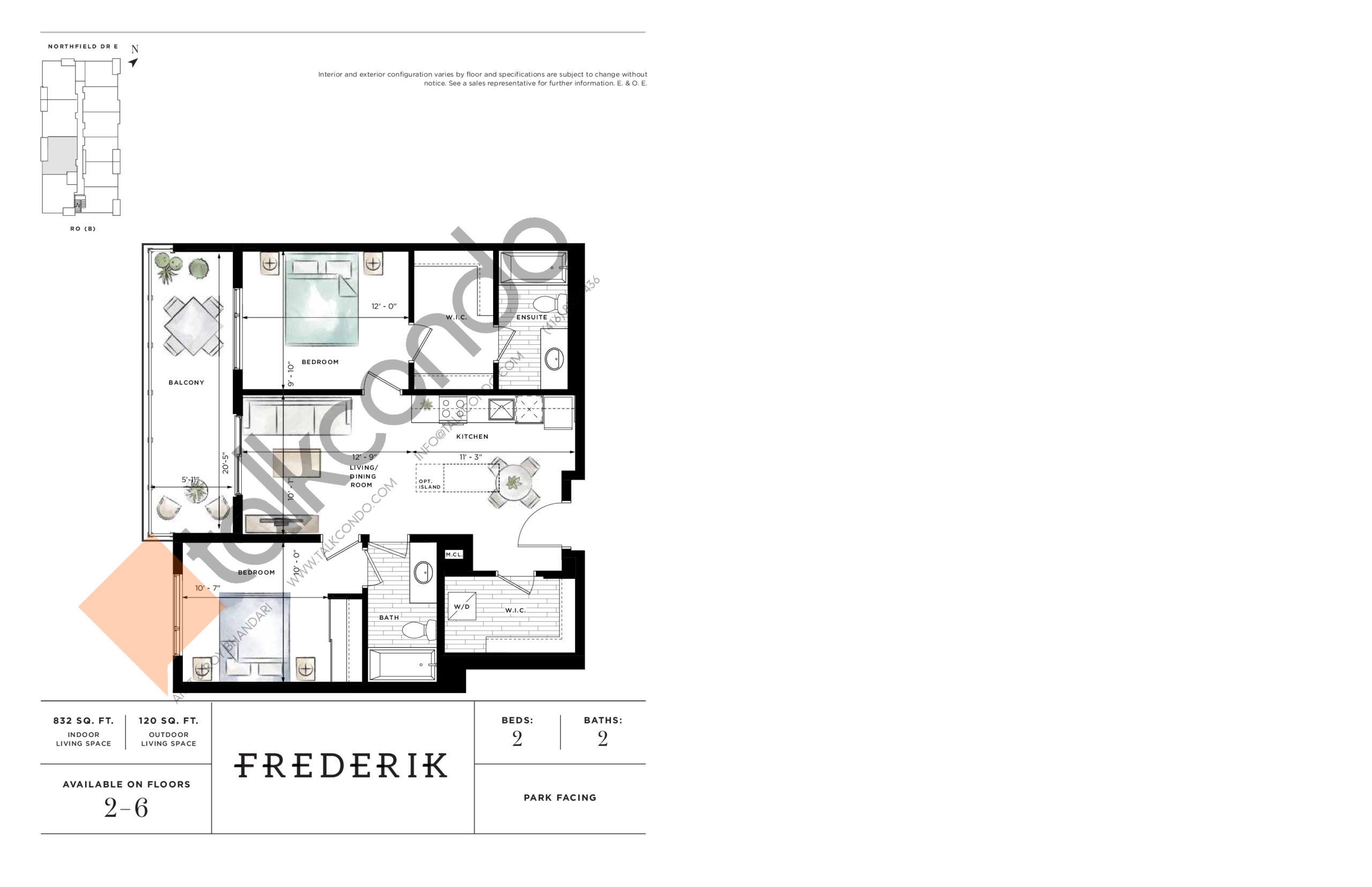 Frederik Floor Plan at Ro at Blackstone Condos - 832 sq.ft
