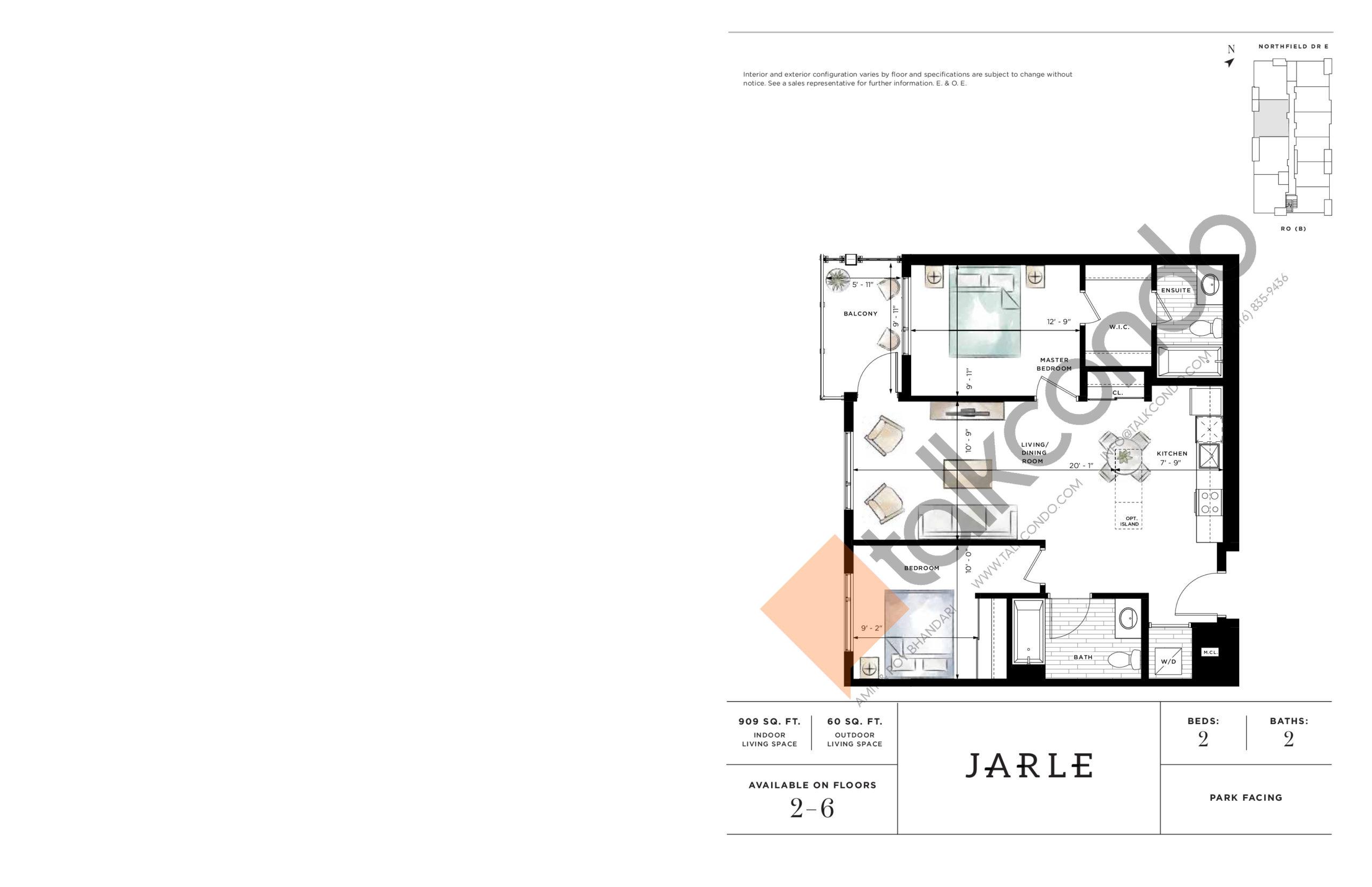 Jarle Floor Plan at Ro at Blackstone Condos - 909 sq.ft