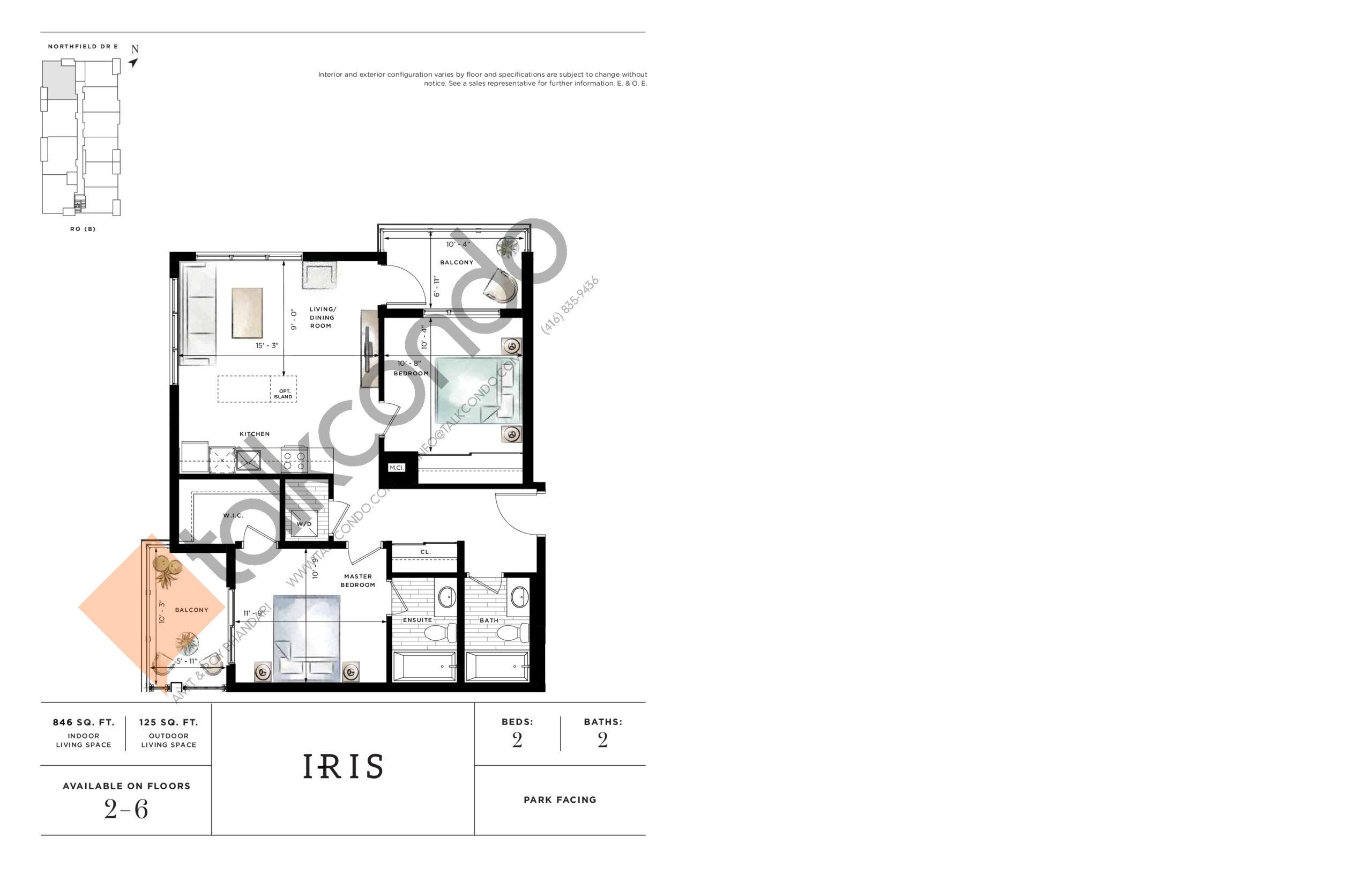 Iris Floor Plan at Ro at Blackstone Condos - 846 sq.ft