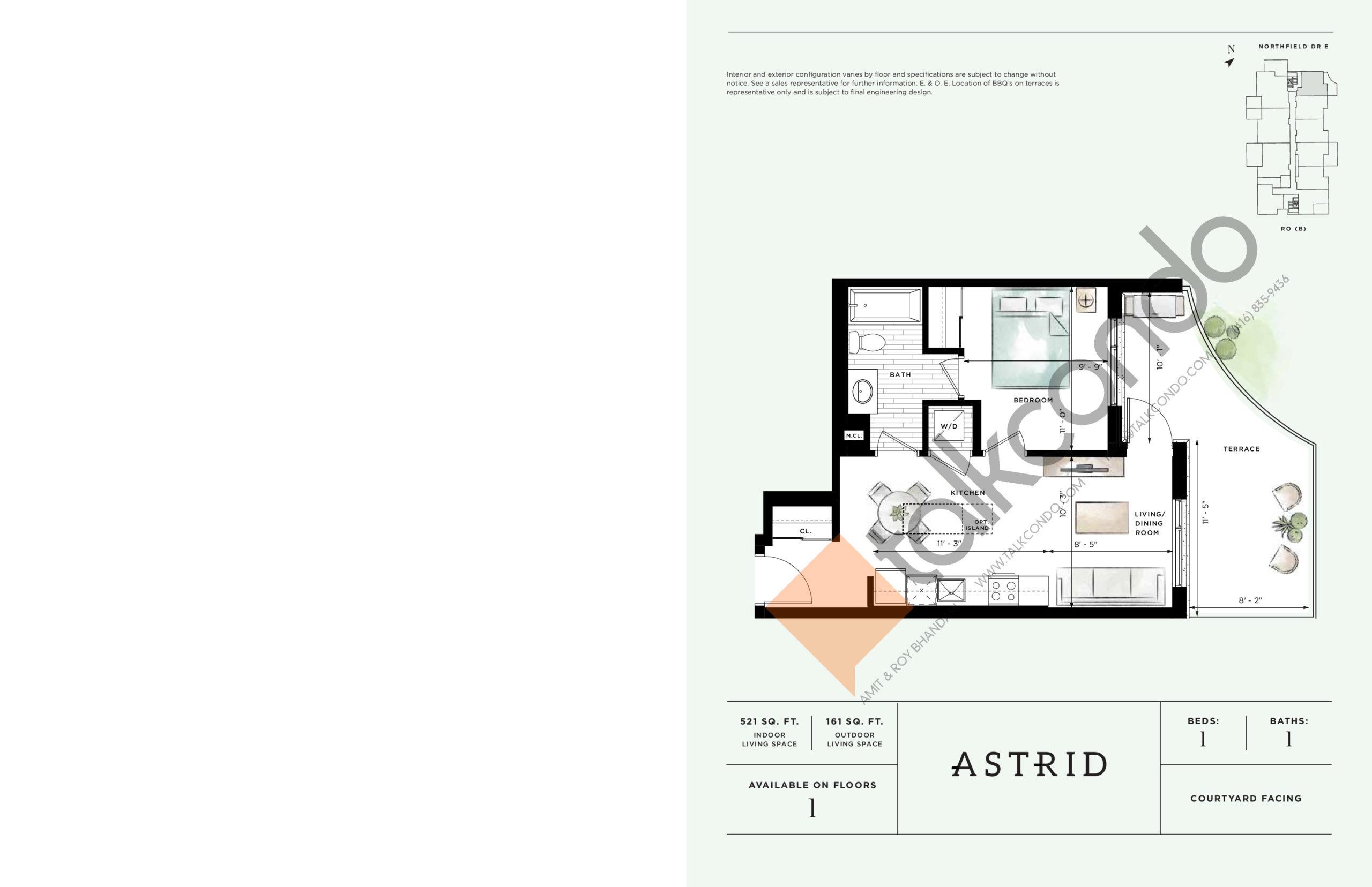 Astrid Floor Plan at Ro at Blackstone Condos - 521 sq.ft