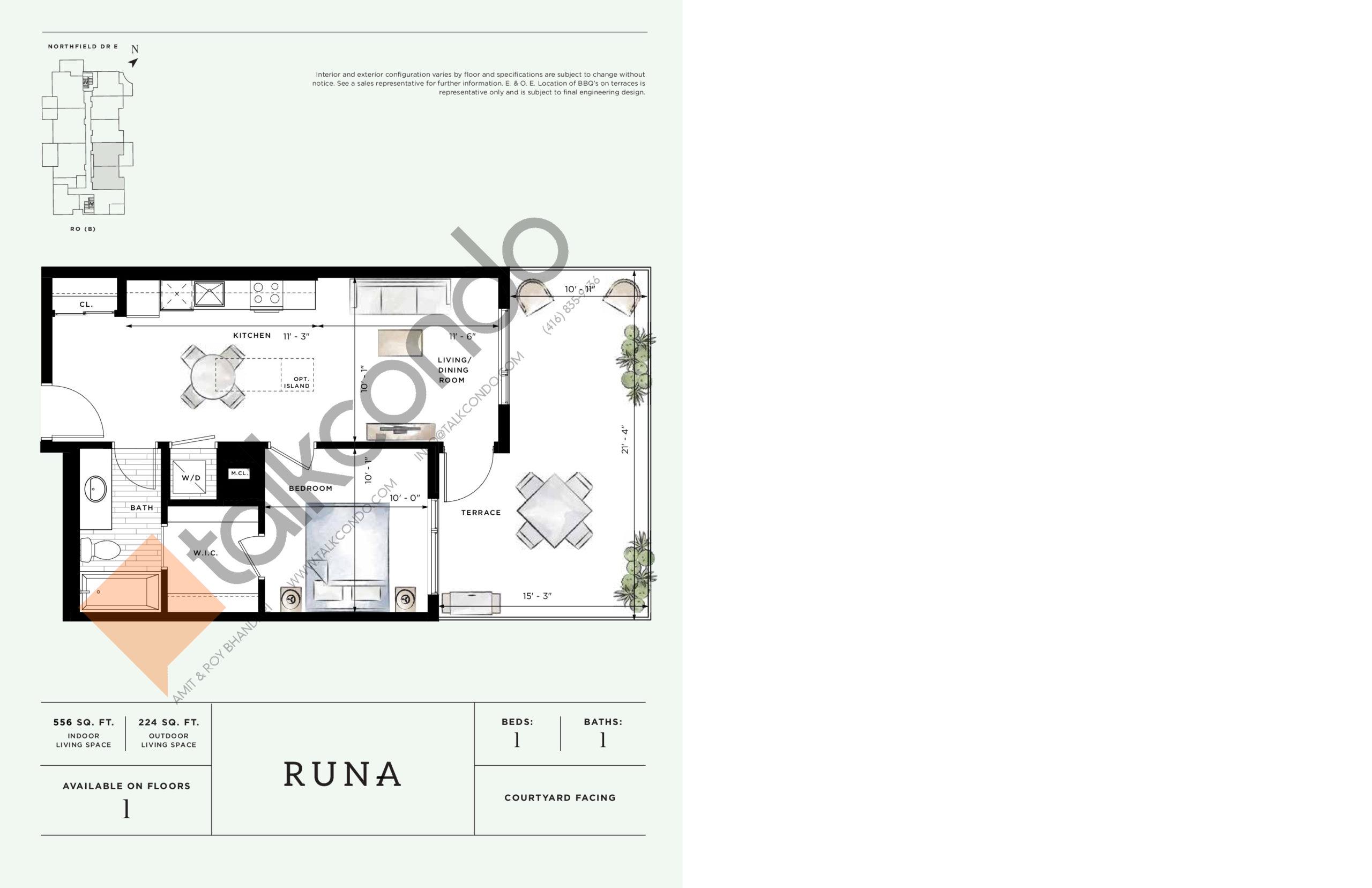 Runa Floor Plan at Ro at Blackstone Condos - 556 sq.ft