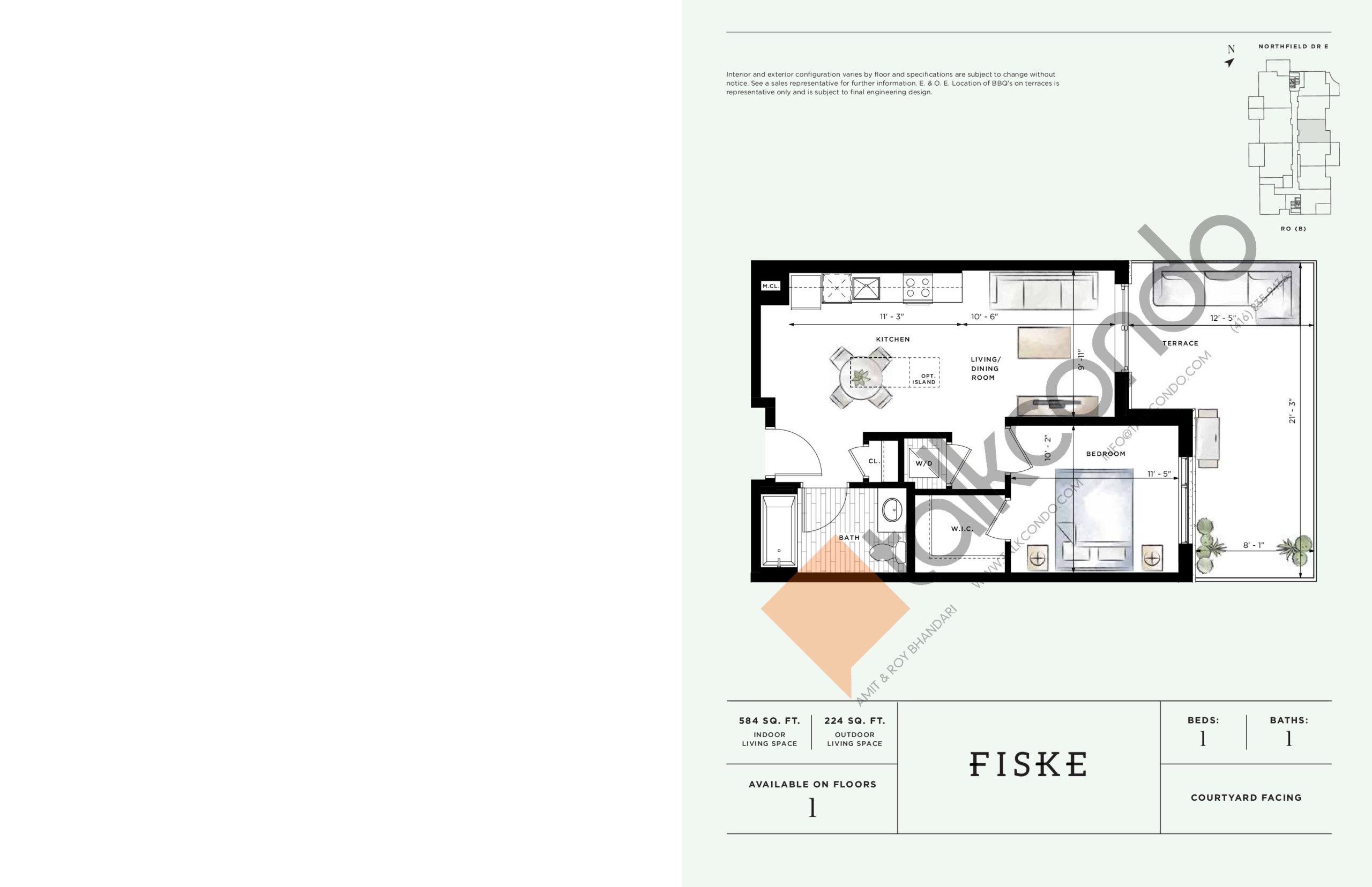 Fiske Floor Plan at Ro at Blackstone Condos - 584 sq.ft