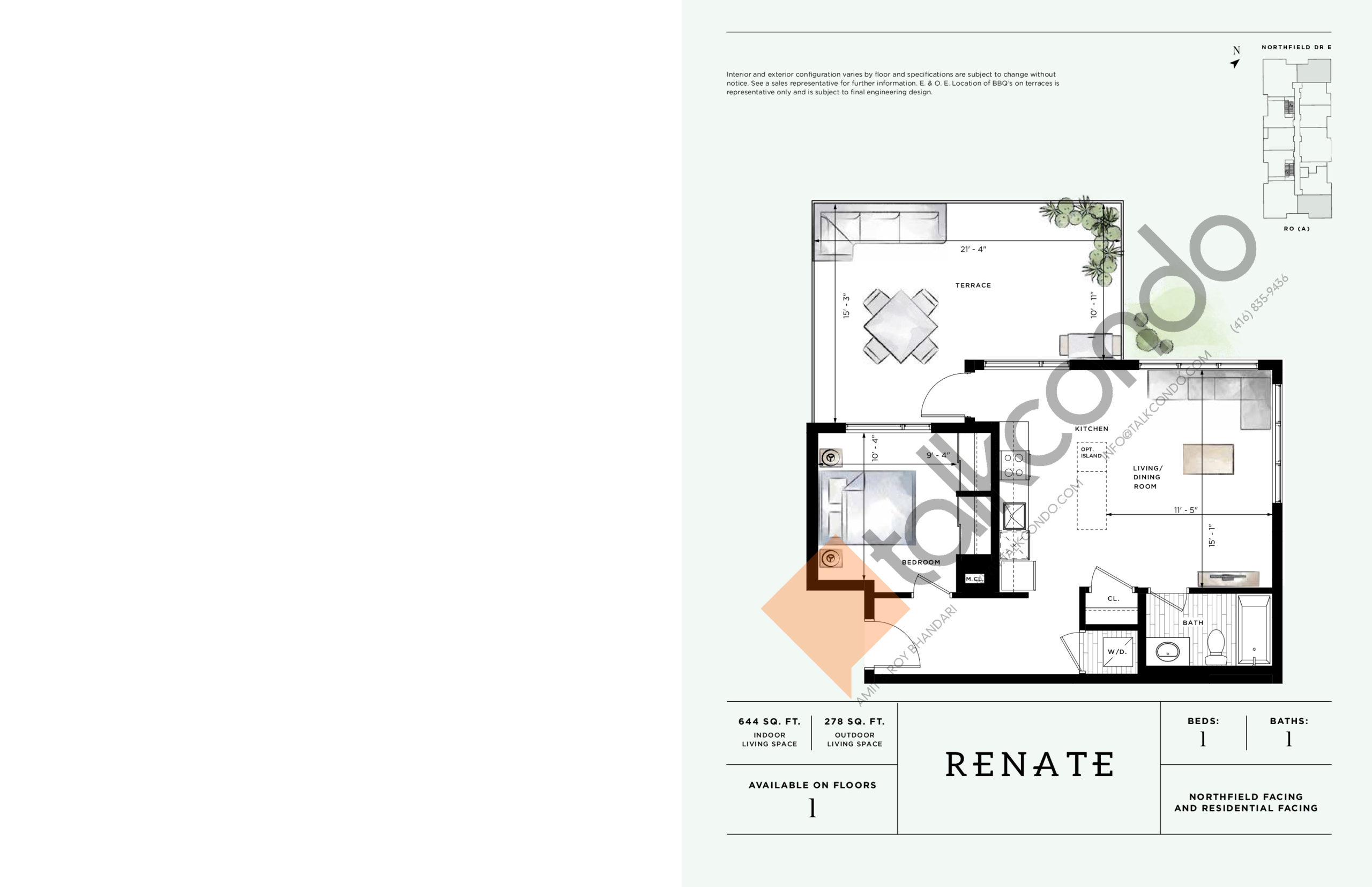 Renate Floor Plan at Ro at Blackstone Condos - 644 sq.ft