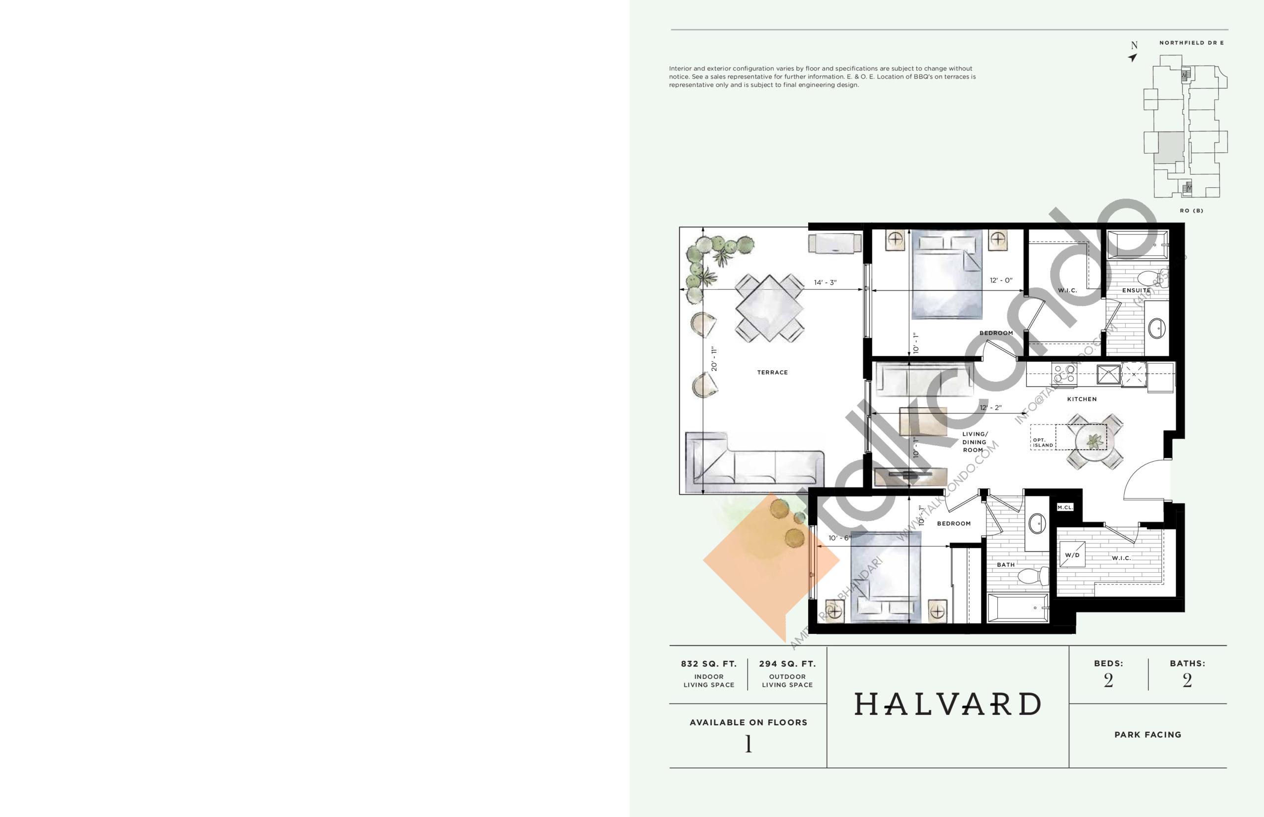 Halvard Floor Plan at Ro at Blackstone Condos - 832 sq.ft