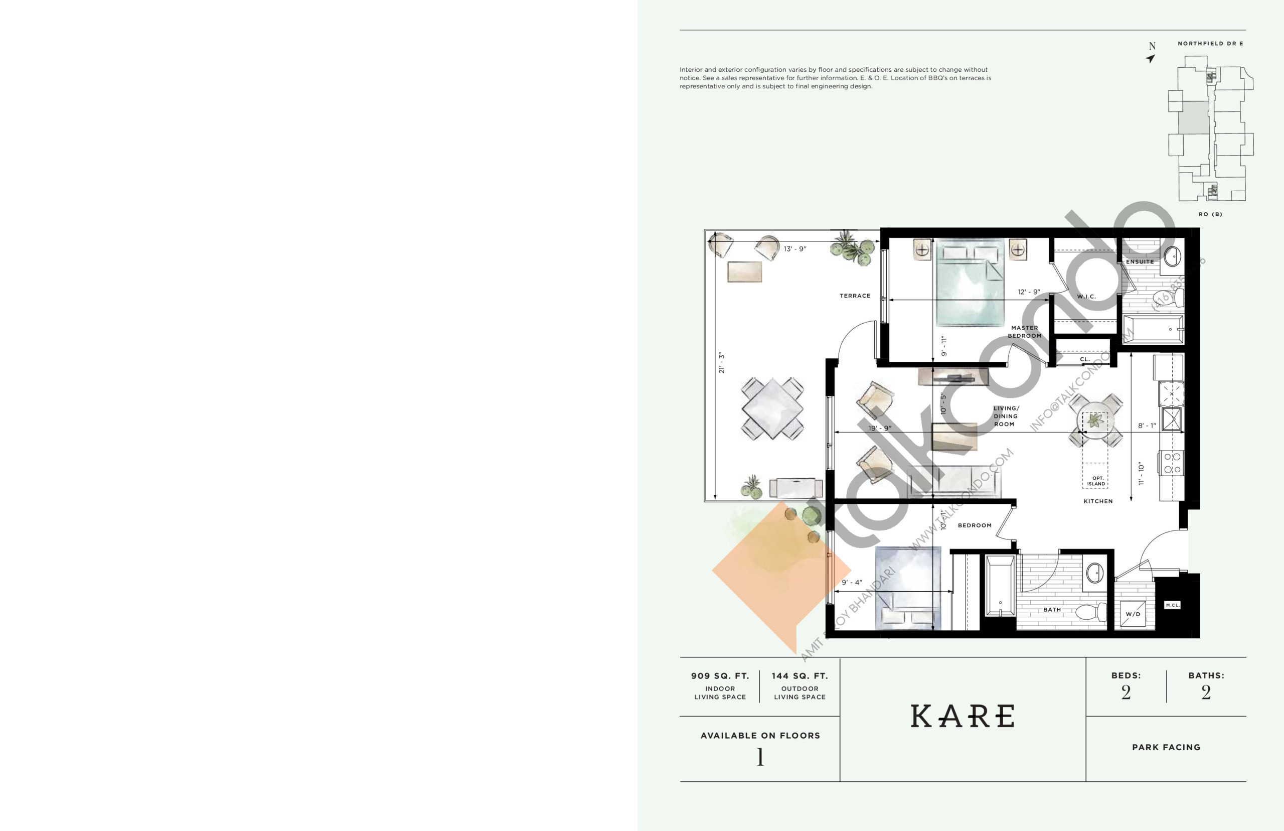 Kare Floor Plan at Ro at Blackstone Condos - 909 sq.ft