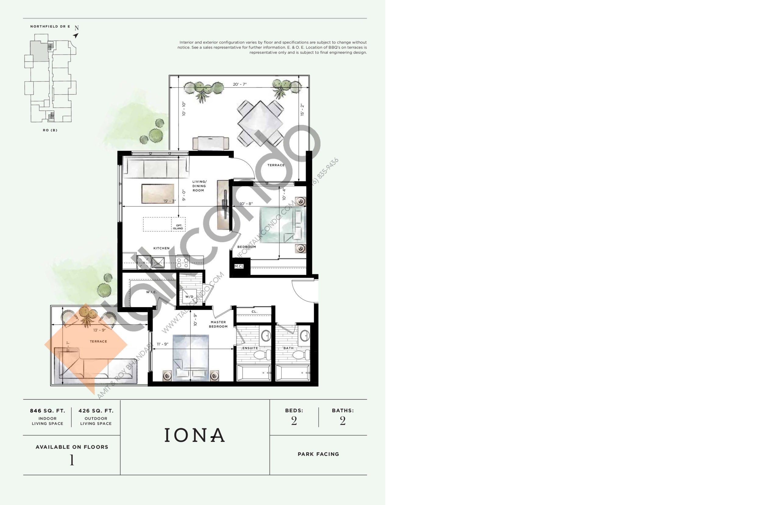 Iona Floor Plan at Ro at Blackstone Condos - 846 sq.ft