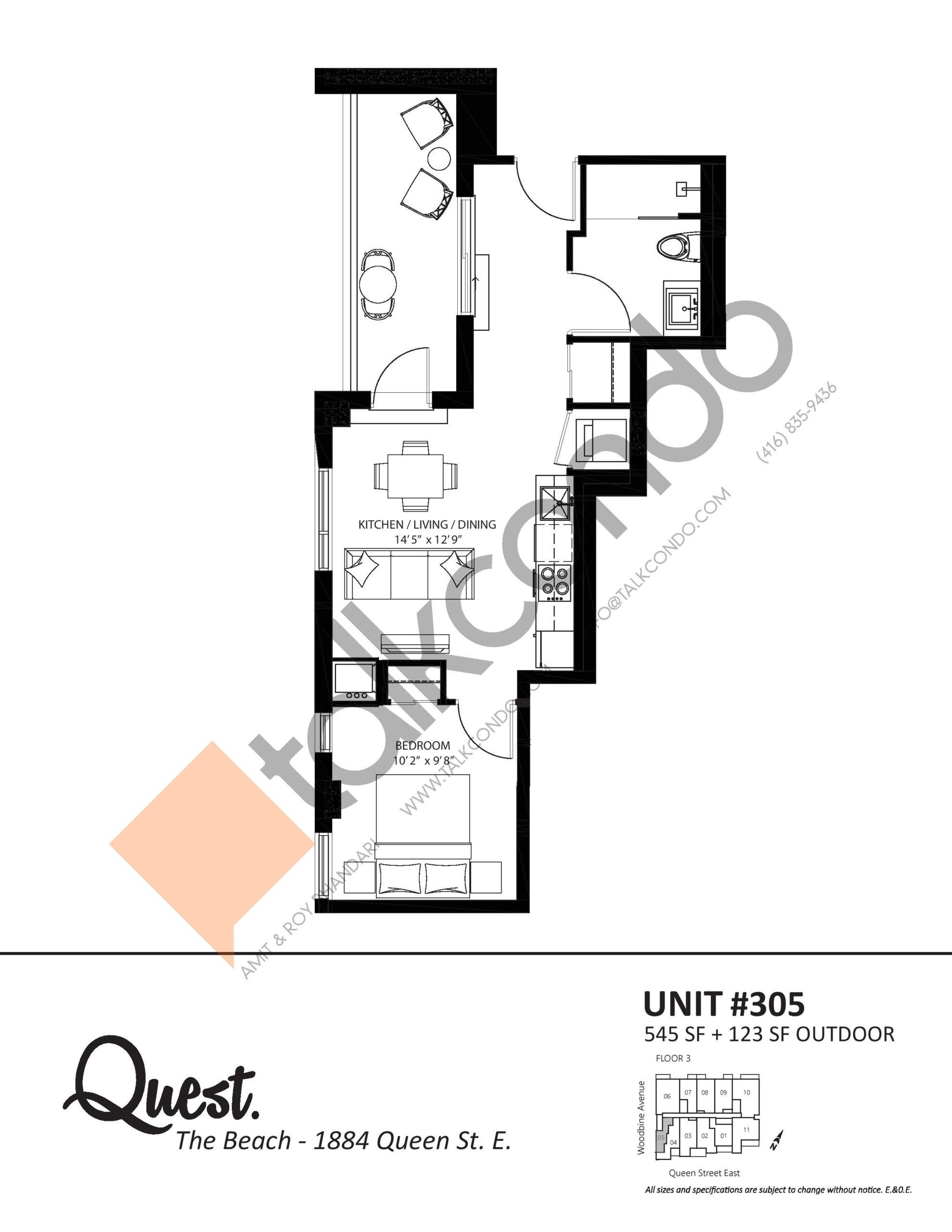 Unit 305 Floor Plan at Heartwood the Beach Condos - 545 sq.ft
