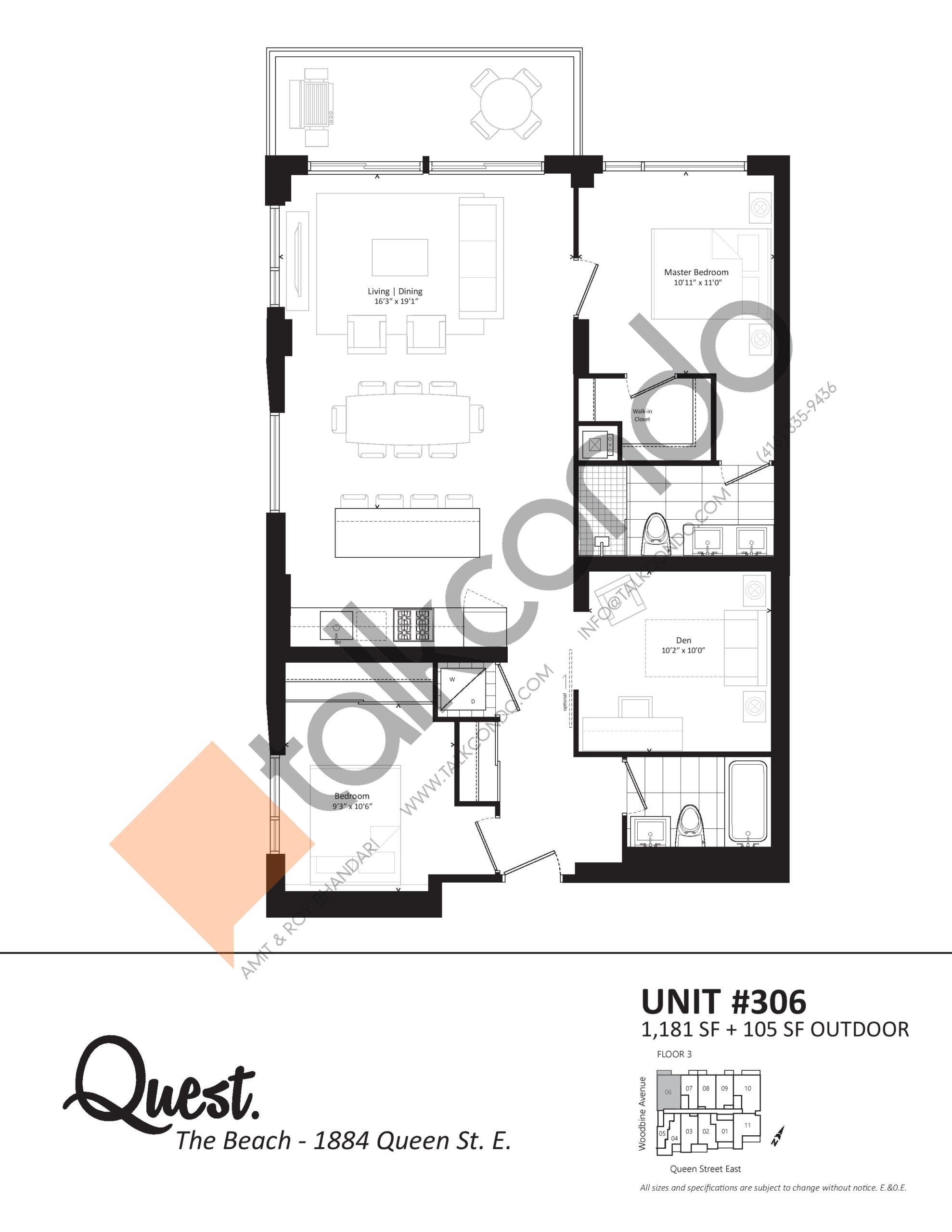 Unit 306 Floor Plan at Heartwood the Beach Condos - 1181 sq.ft