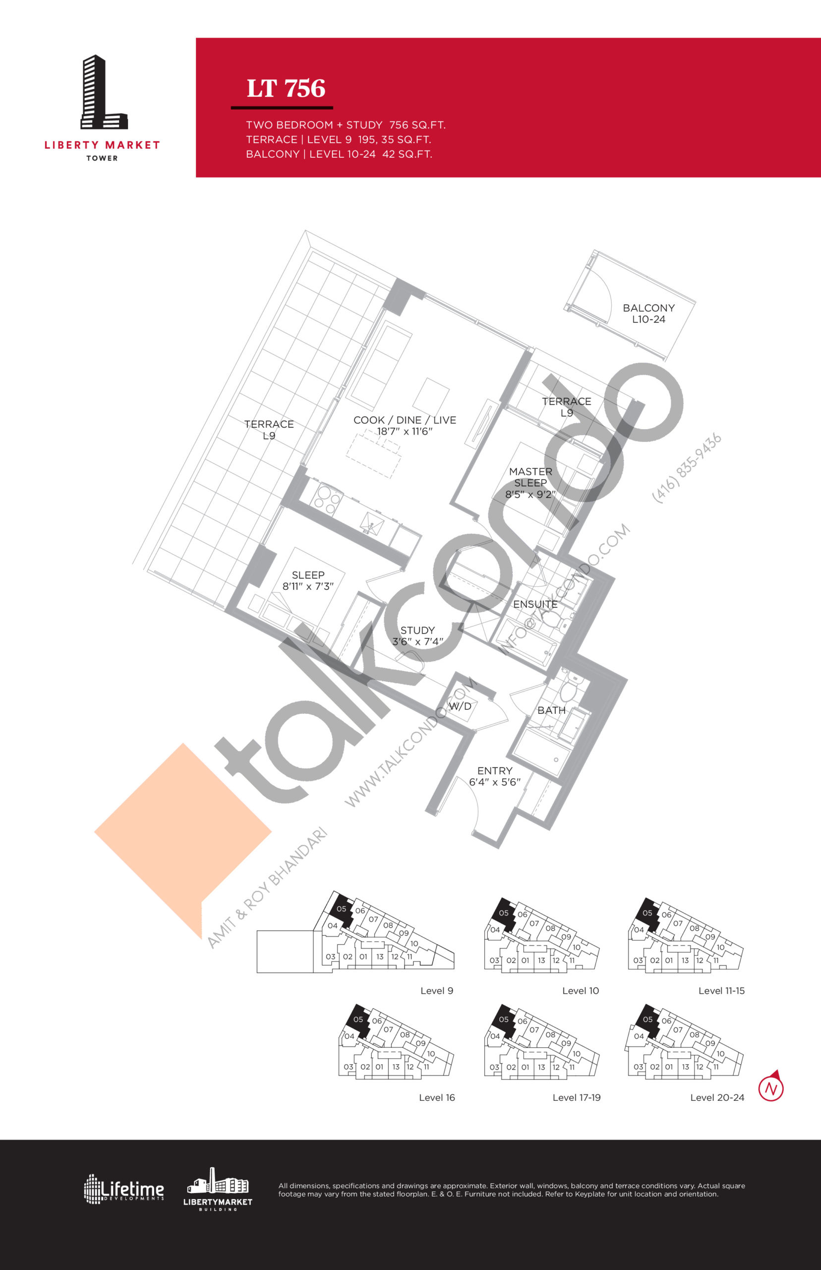 LT 756 - Tower Collection Floor Plan at Liberty Market Tower Condos - 756 sq.ft