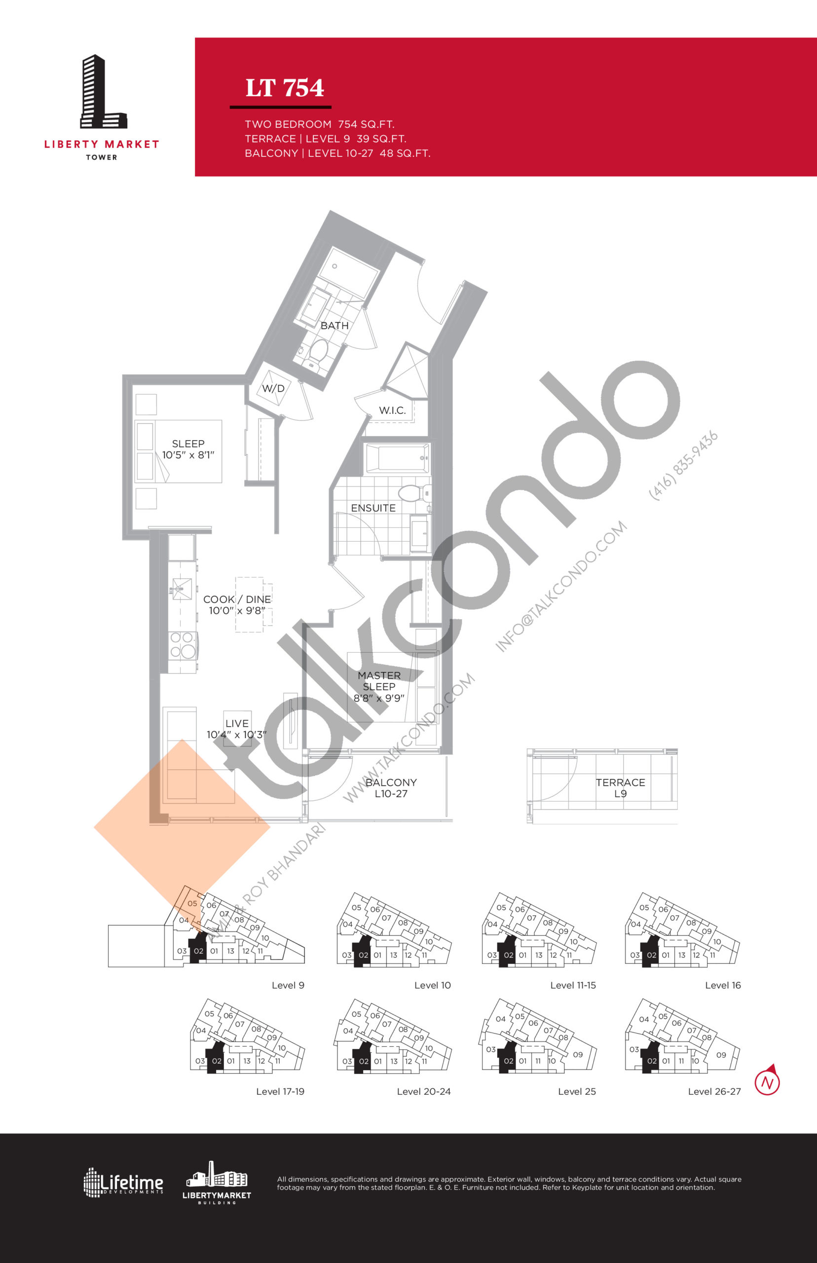 LT 754 - Tower Collection Floor Plan at Liberty Market Tower Condos - 754 sq.ft