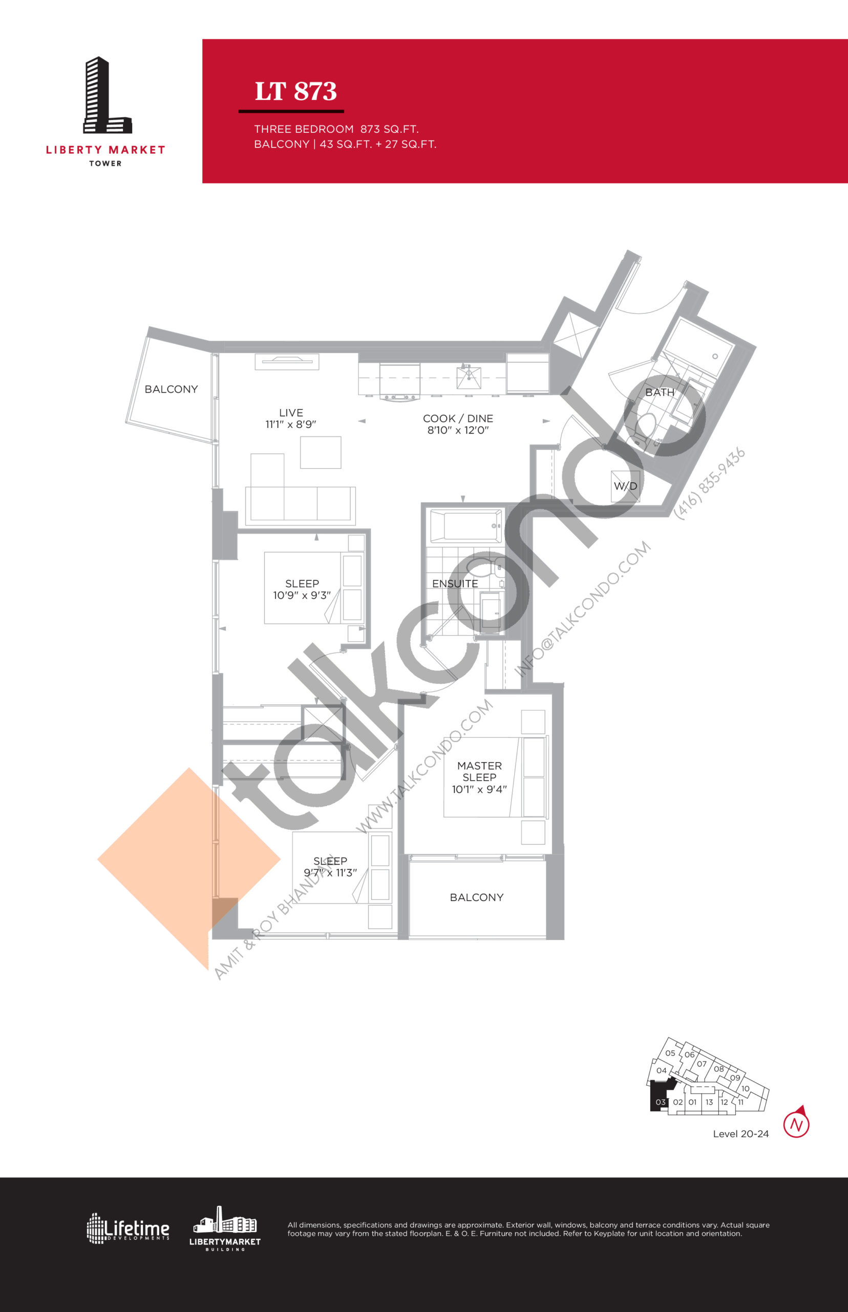 LT 873 - Tower Collection Floor Plan at Liberty Market Tower Condos - 873 sq.ft