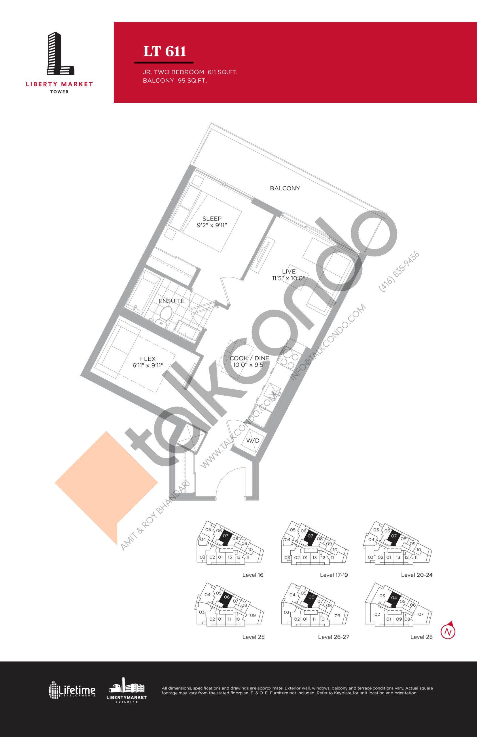 LT 611 Floor Plan at Liberty Market Tower Condos - 611 sq.ft