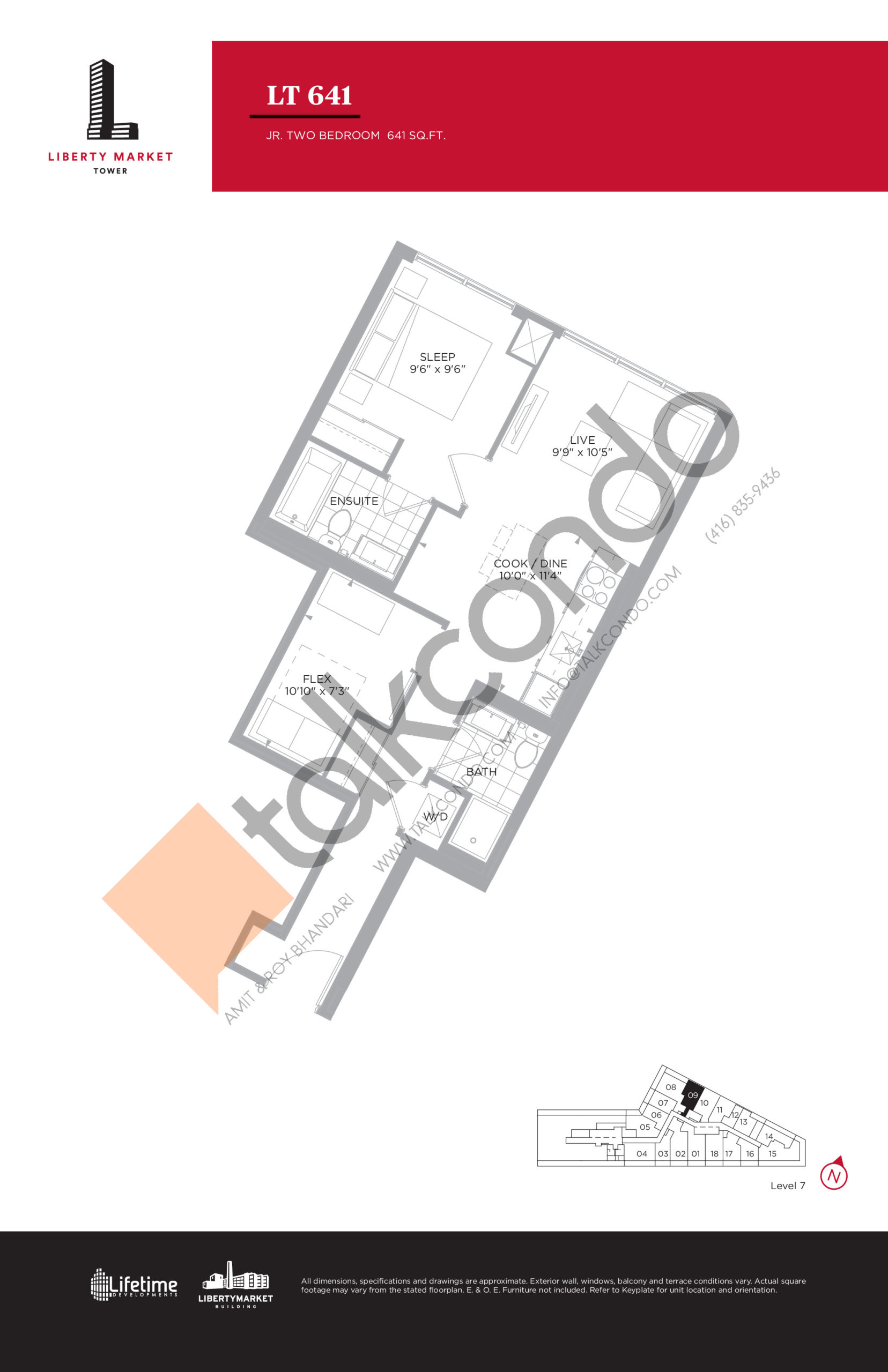 LT 641 - Tower Collection Floor Plan at Liberty Market Tower Condos - 641 sq.ft