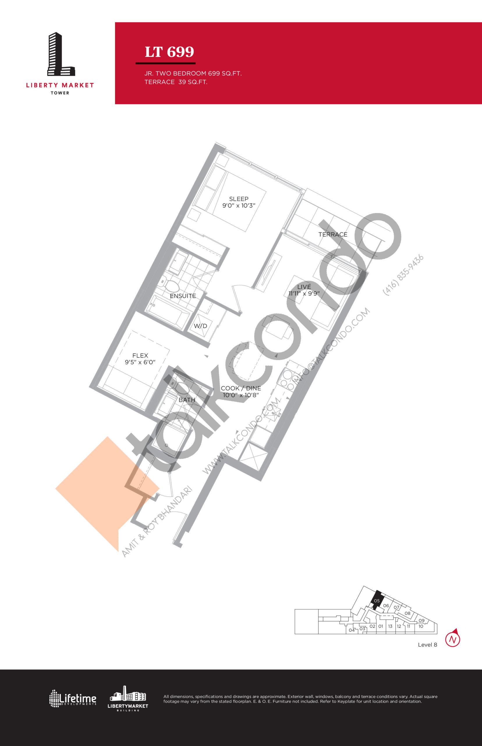 LT 699 - Terrace Collection Floor Plan at Liberty Market Tower Condos - 699 sq.ft