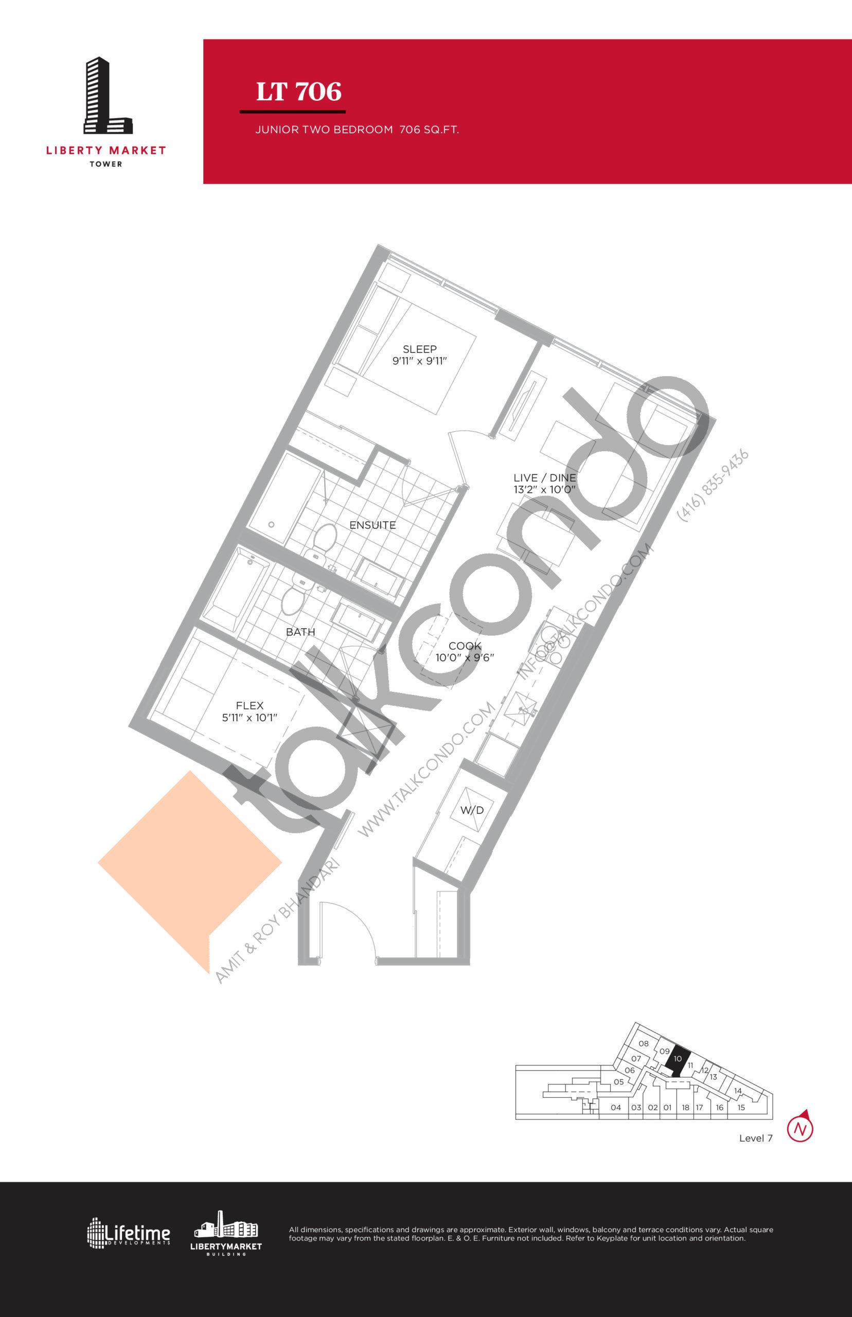 LT 706 Floor Plan at Liberty Market Tower Condos - 706 sq.ft
