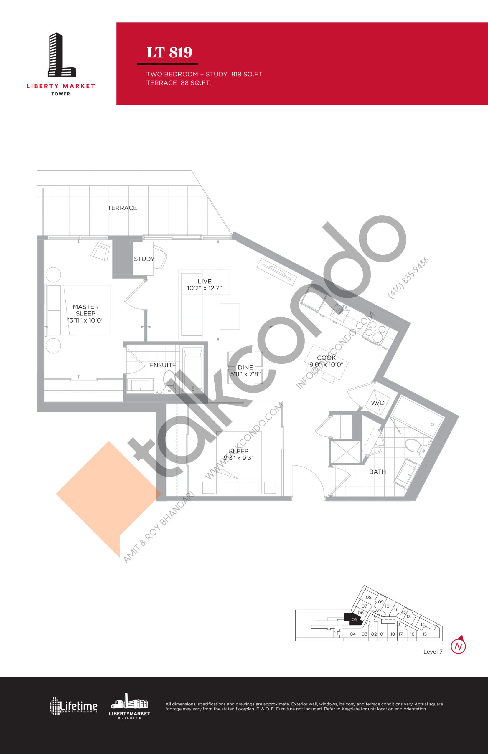 LT 819 - Terrace Collection Floor Plan at Liberty Market Tower Condos - 819 sq.ft