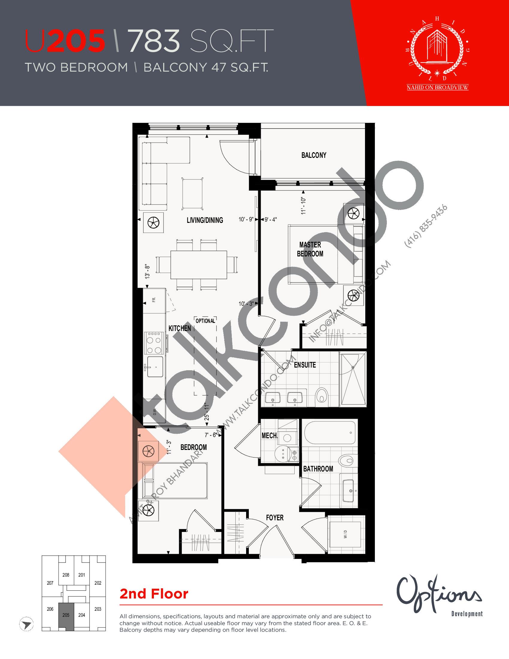 U205 Floor Plan at Nahid on Broadview Condos - 783 sq.ft