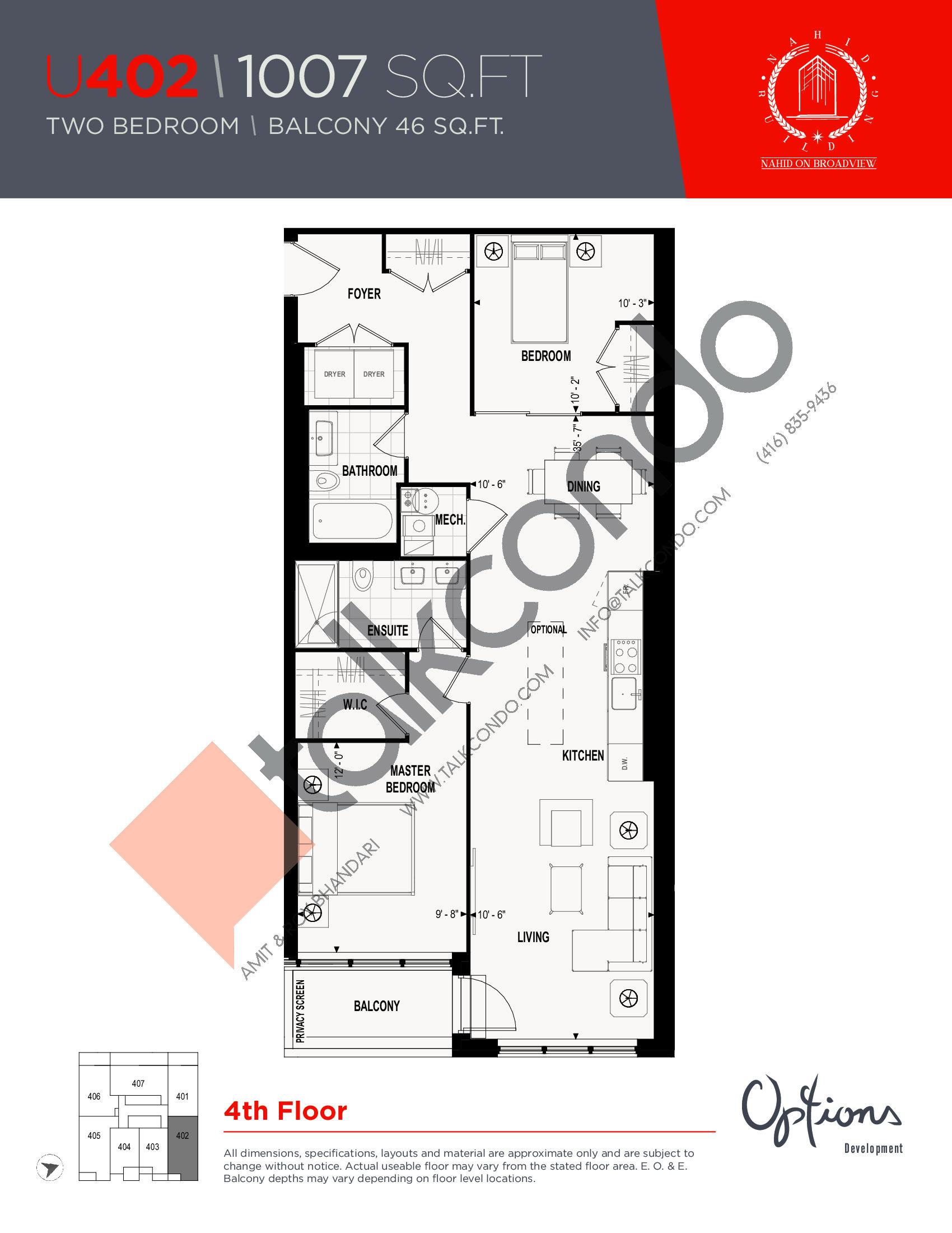 U402 Floor Plan at Nahid on Broadview Condos - 1007 sq.ft